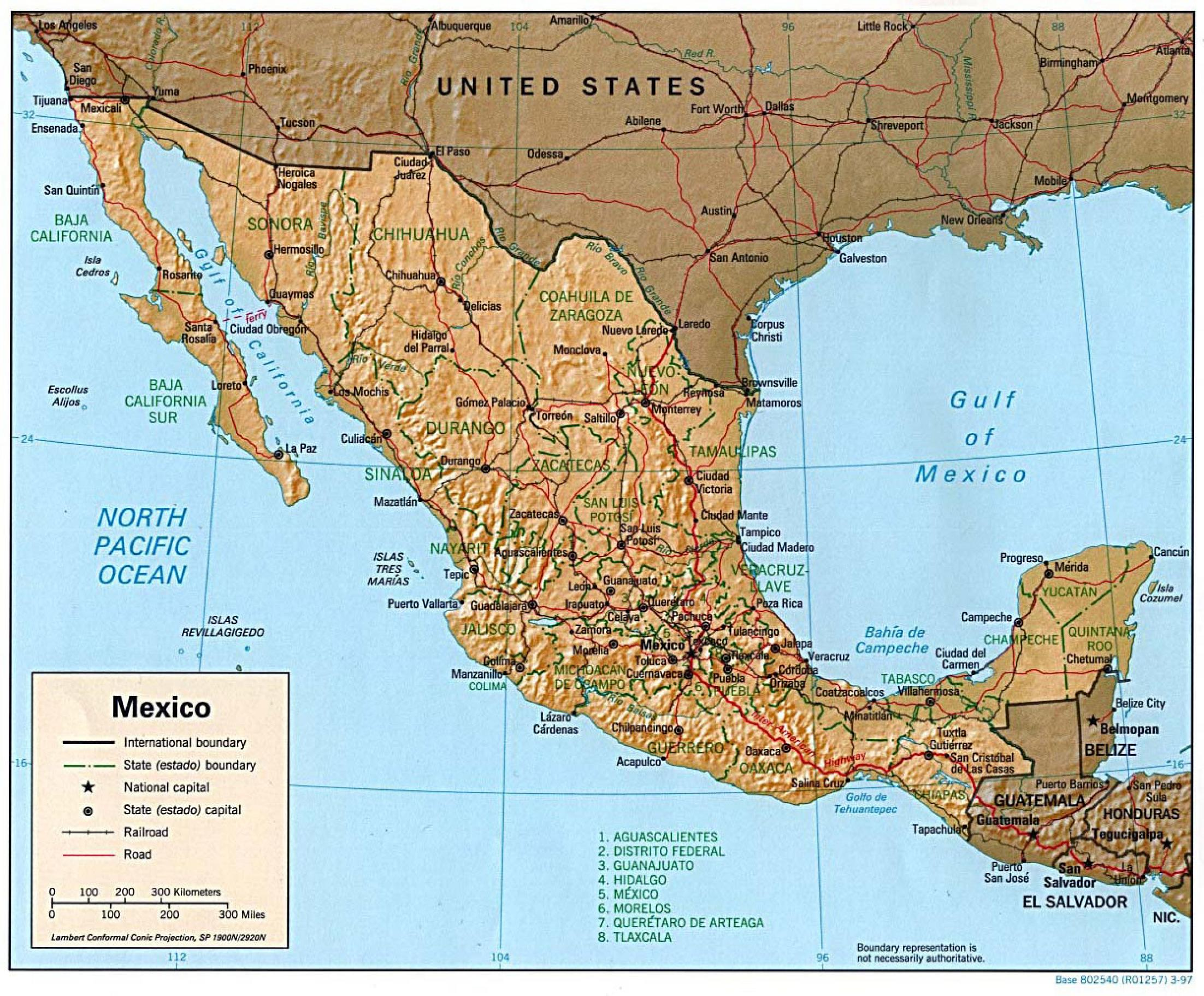 Map of Mexico 1997 Full size
