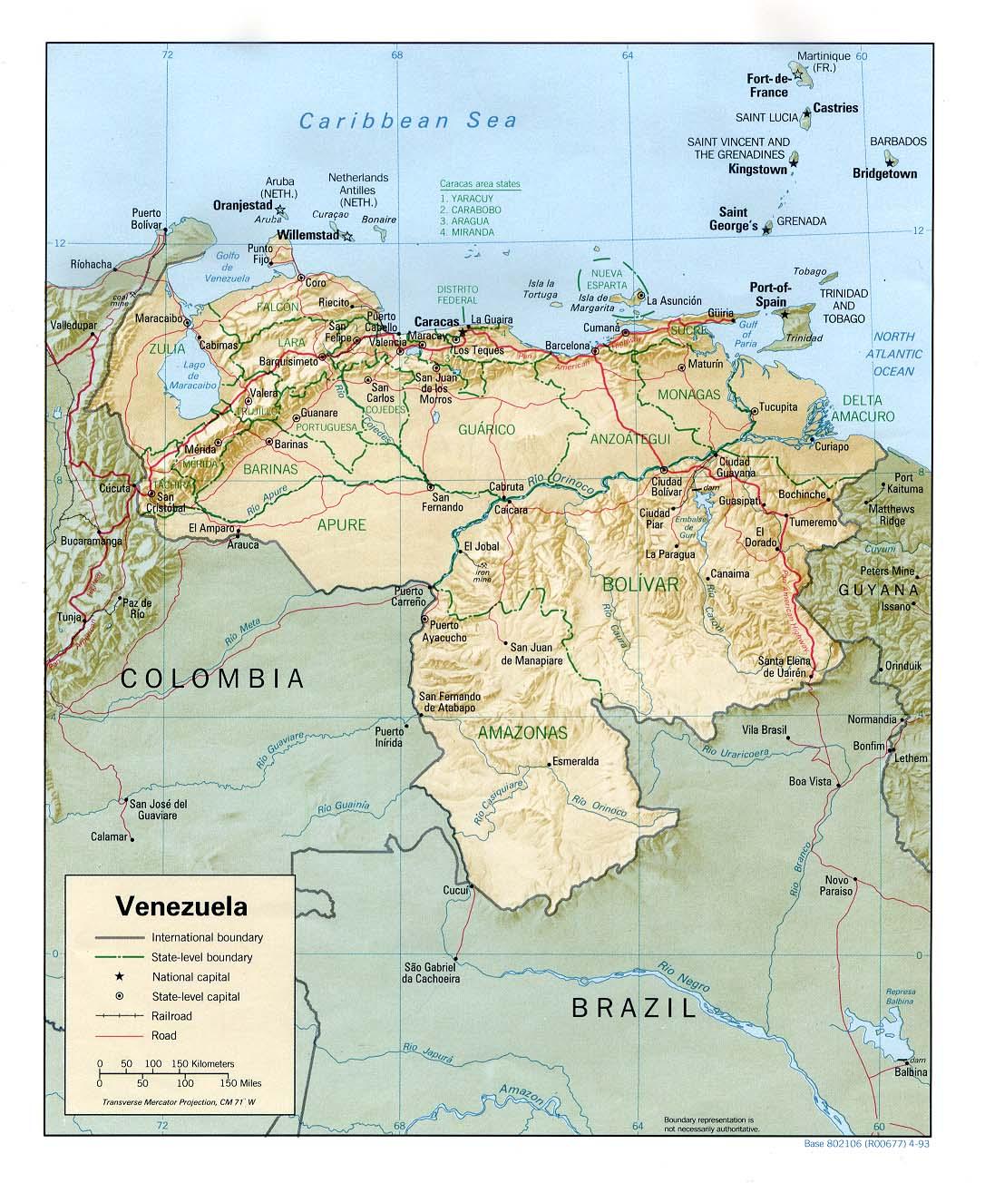 Venezuela Physical Map 1993