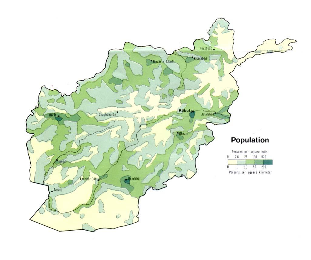 Afghanistan Population 1972 Full Size