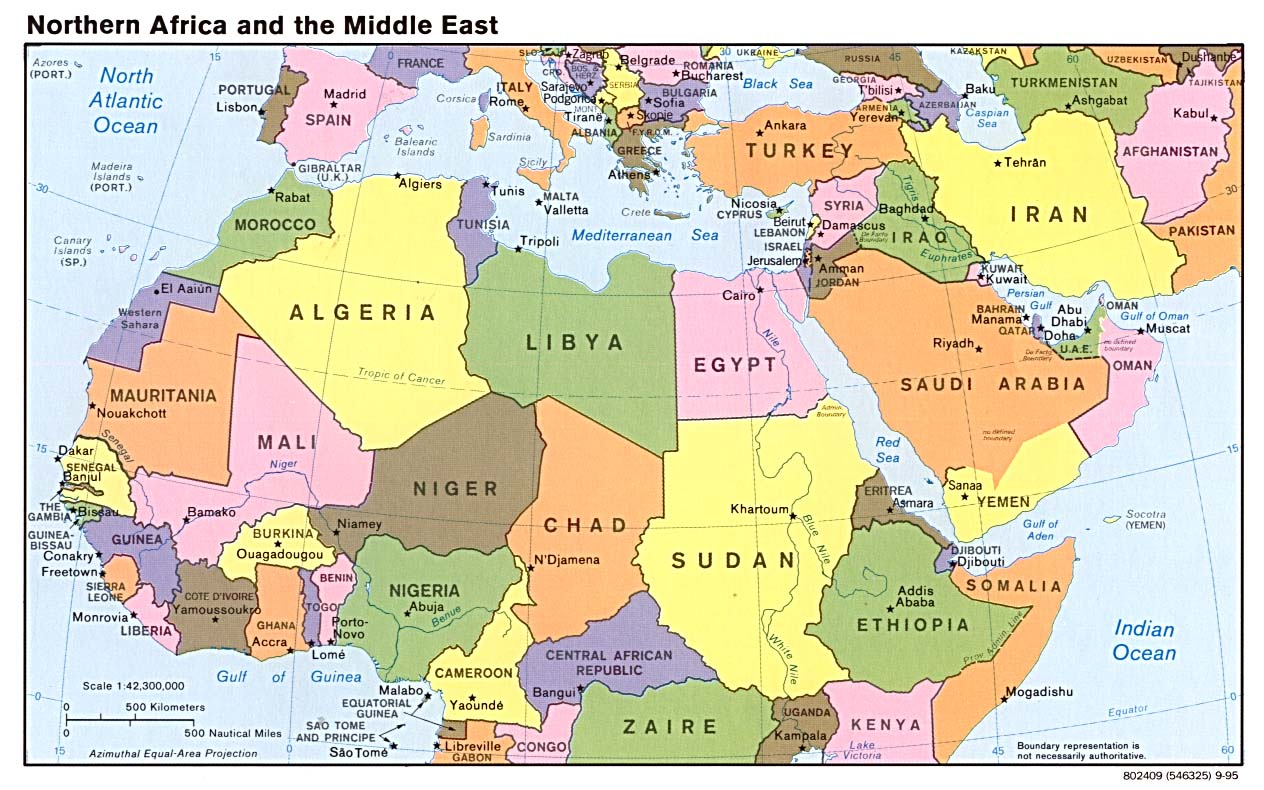 Northern Africa and the Middle East 1995 - Full size