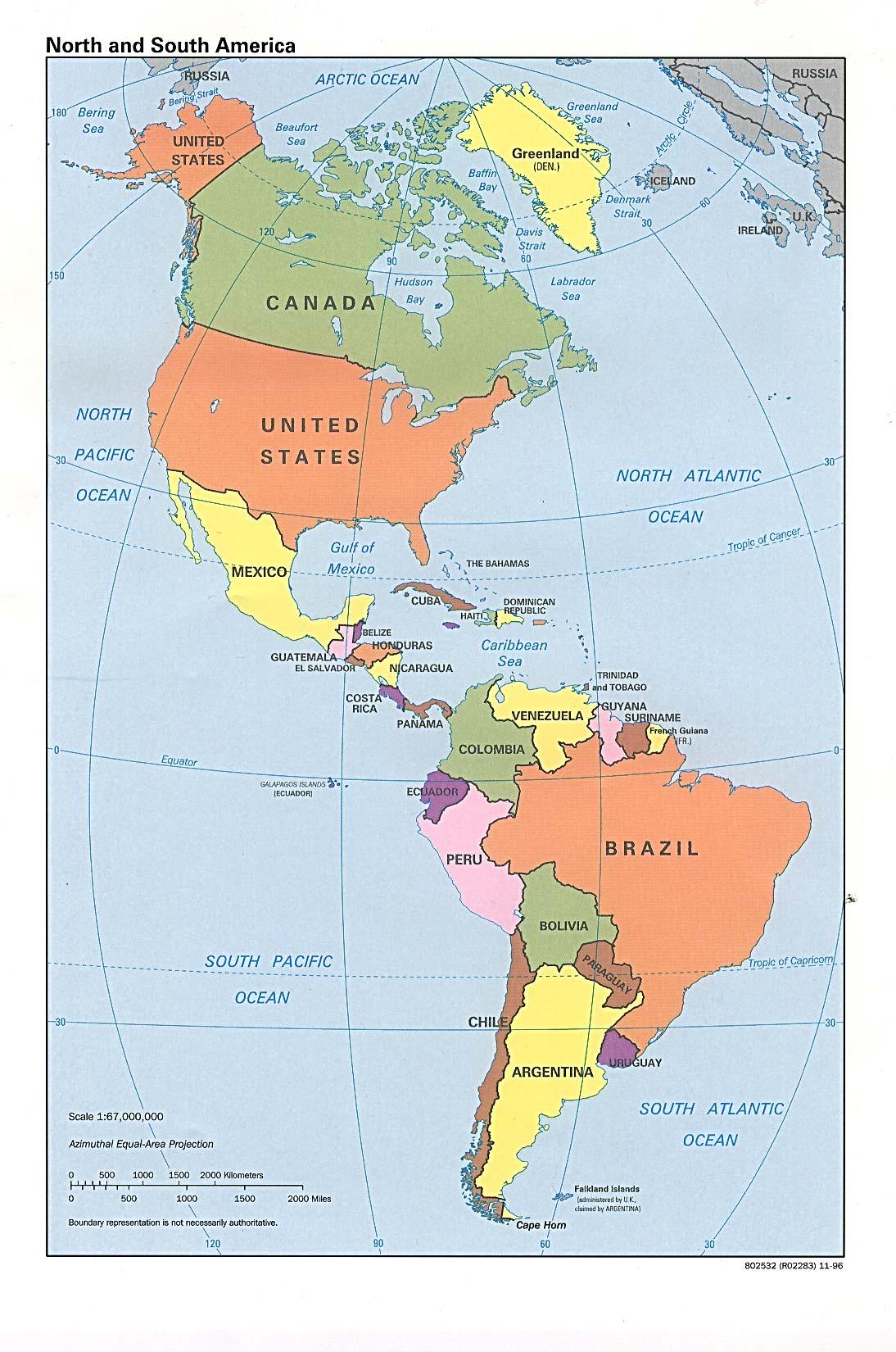Mapa de América - Tamaño completo