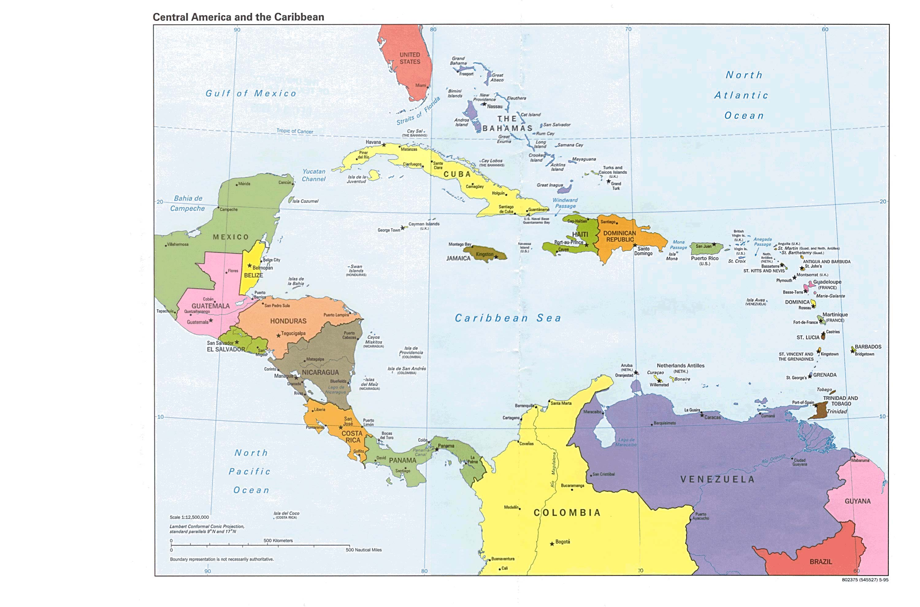 Central America and the Caribbean Political Map 1995 - Full size