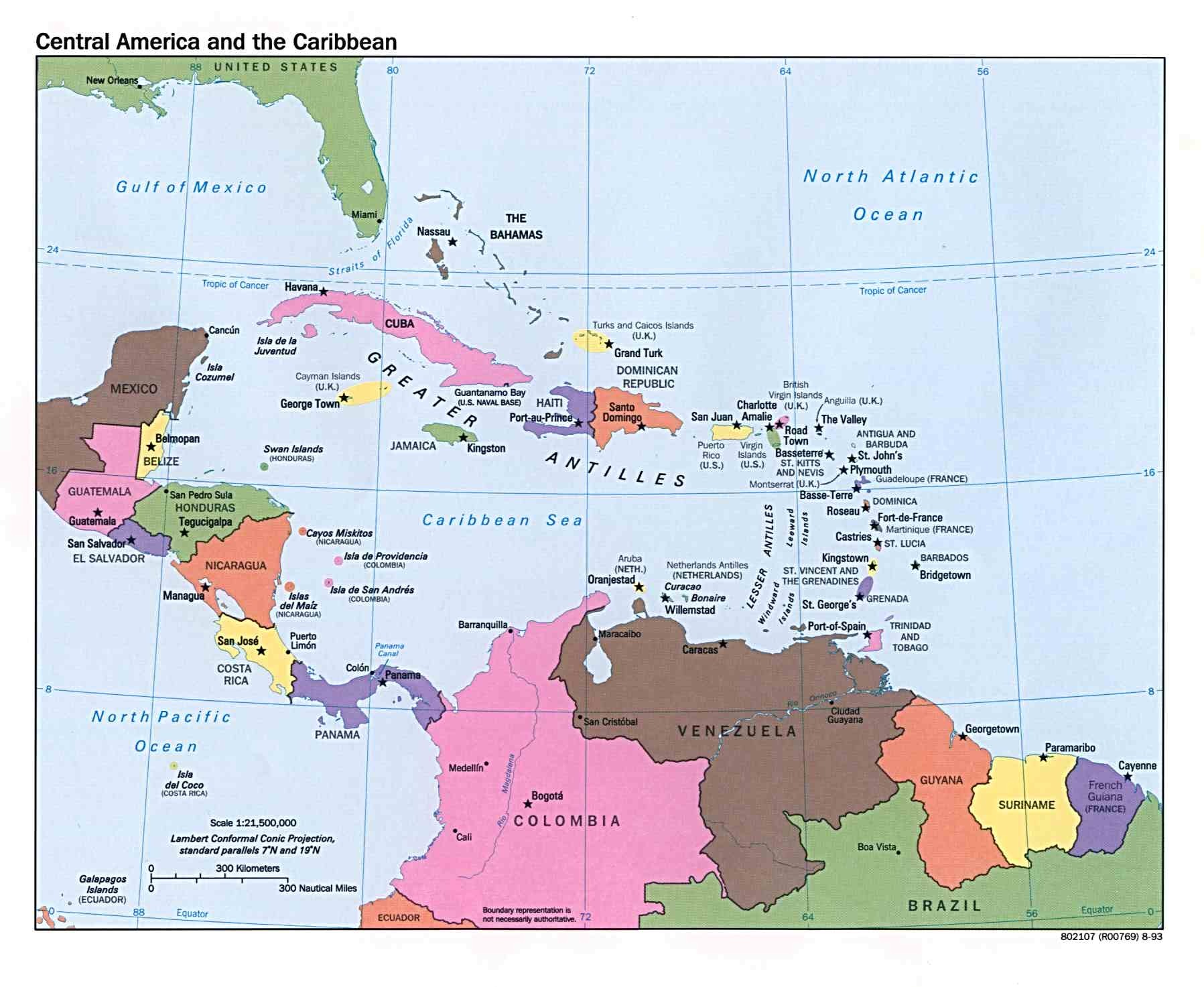 Central America and the Caribbean Political Map 1993 Full size