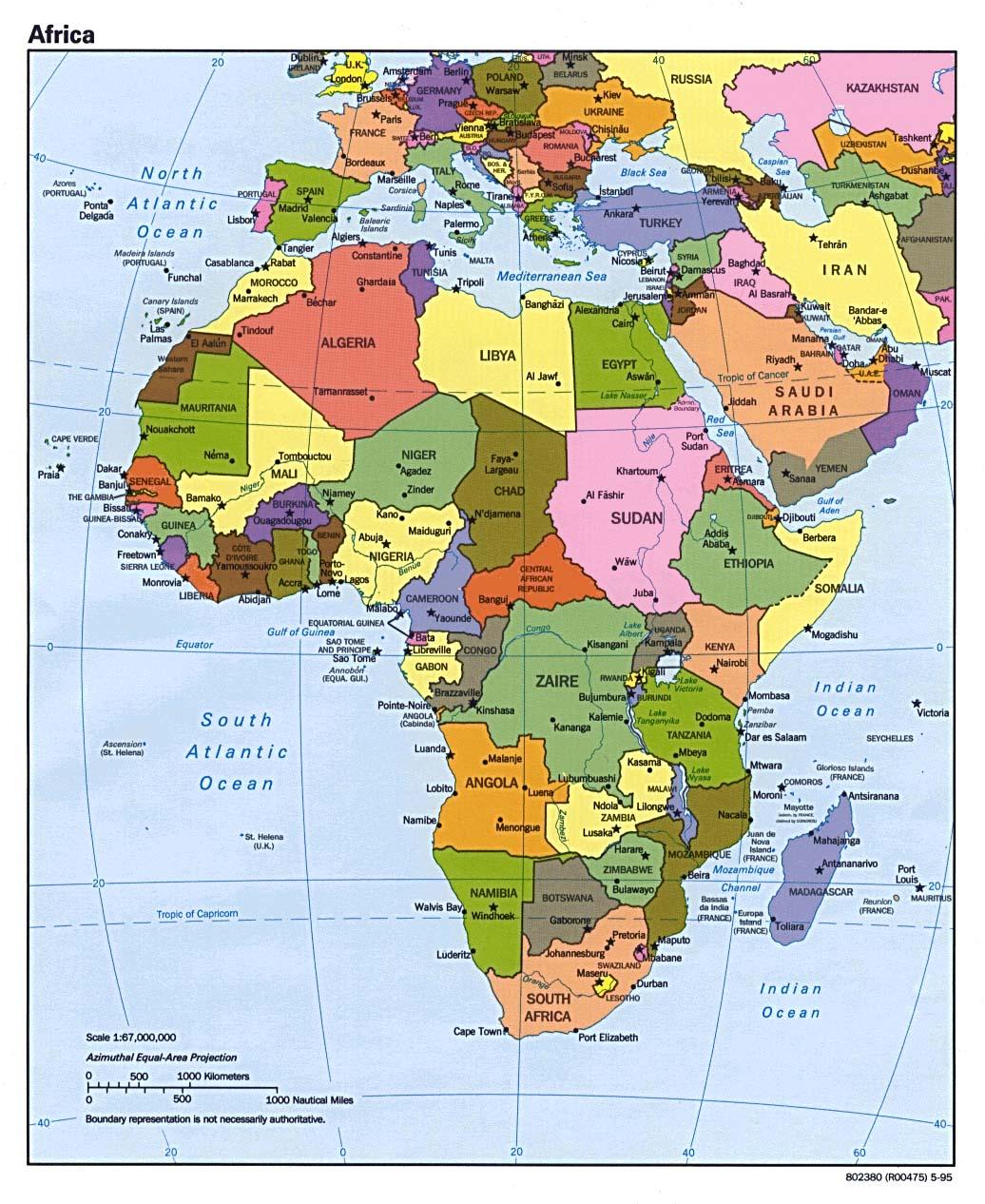 Mapa politico de áfrica 1995