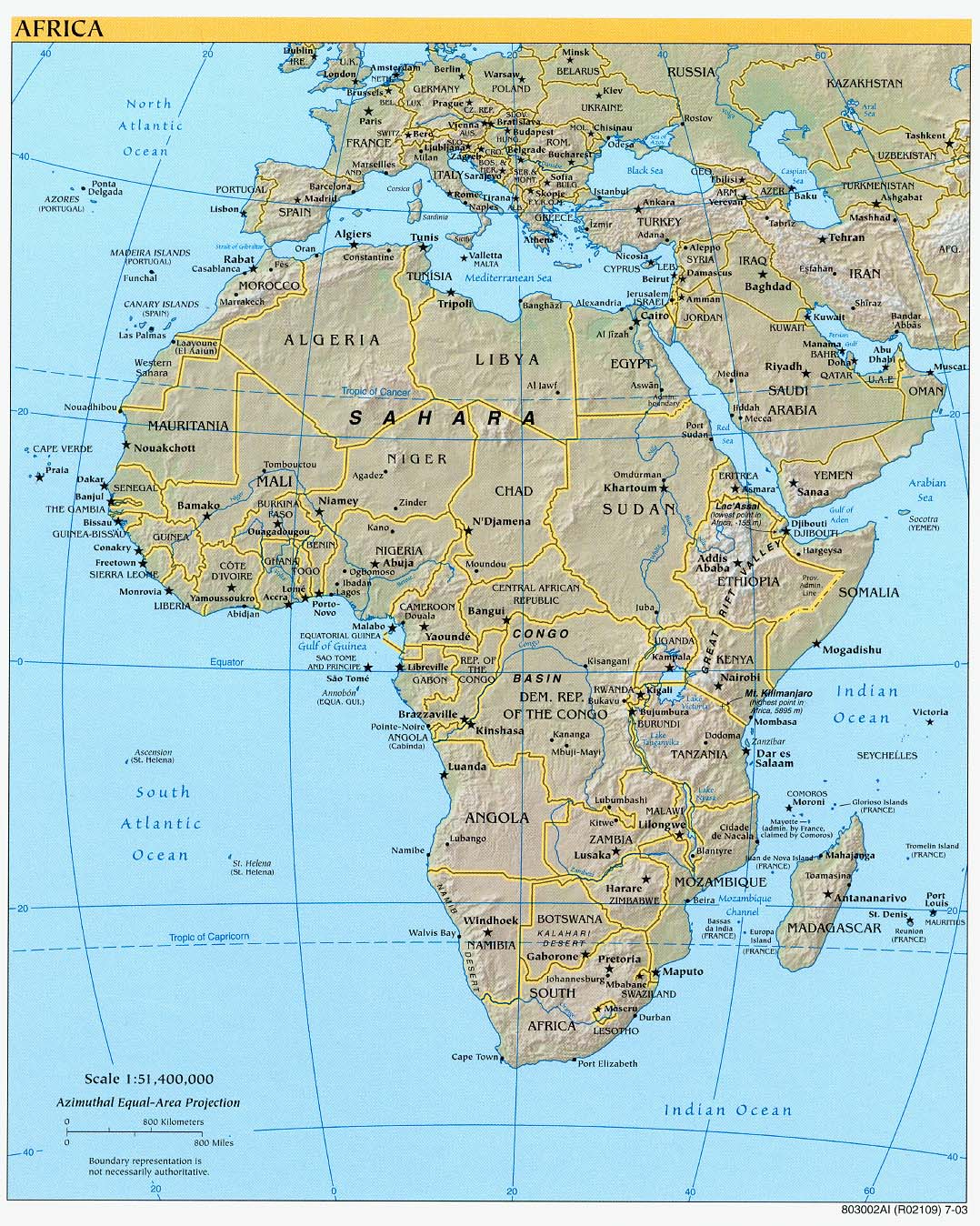 Africa physical map 2003 - Full size
