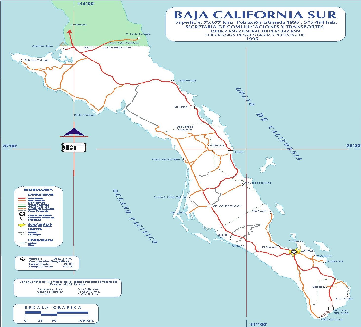 Mapa de Mexico Baja California Sur Baja California Sur Map