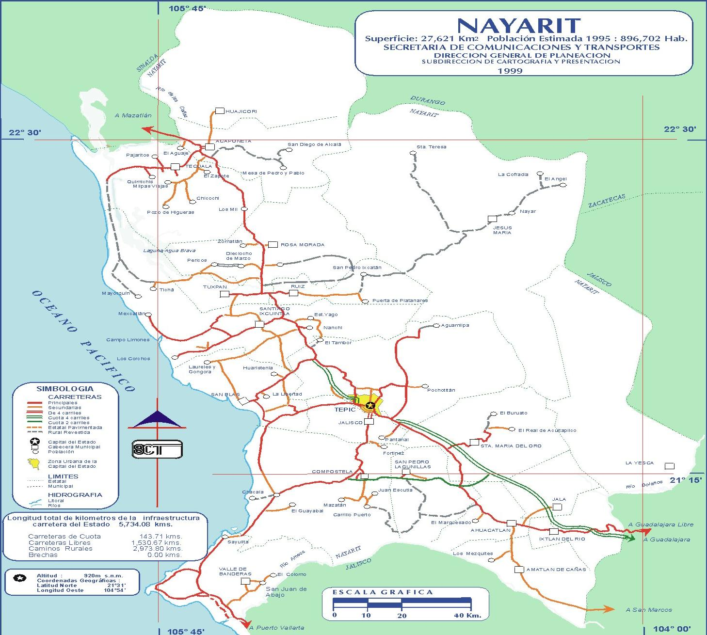 Map of Nayarit 1999