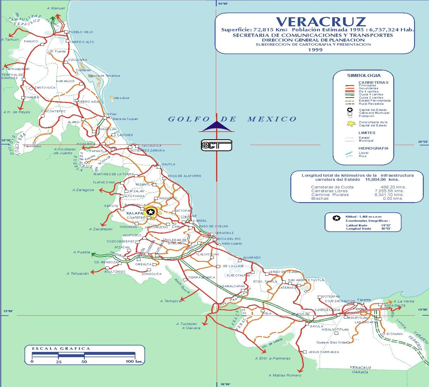 Mapa de Veracruz 1999 - Tamaño completo