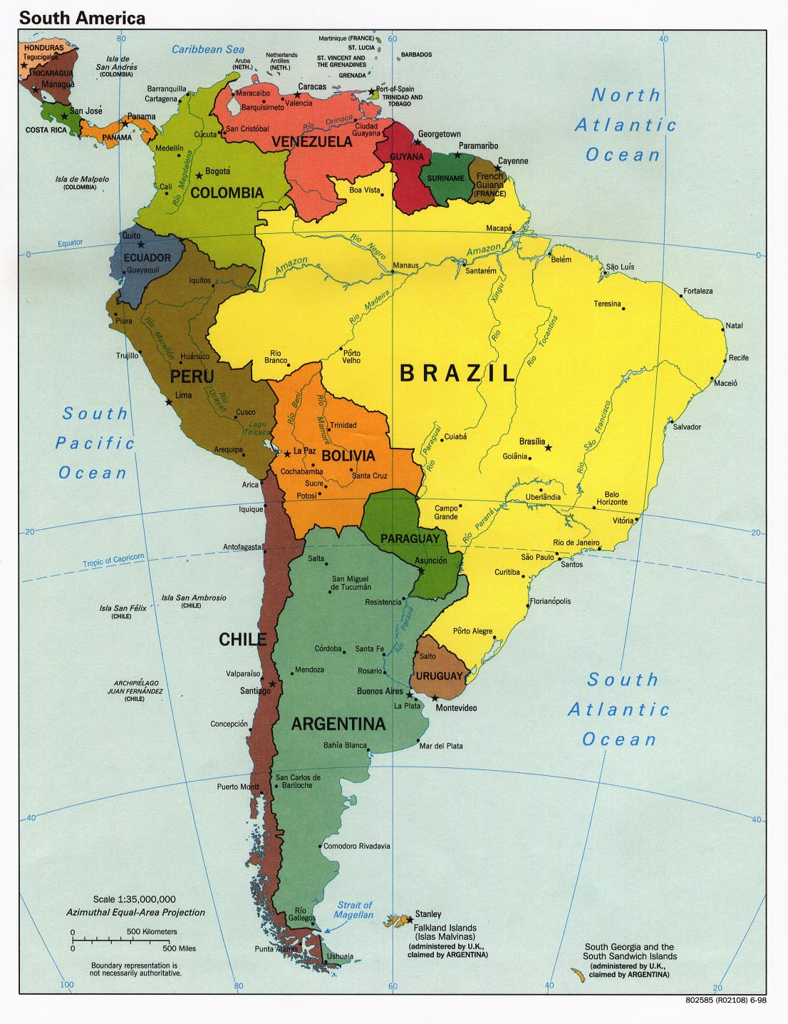 Geographic Region map of South America