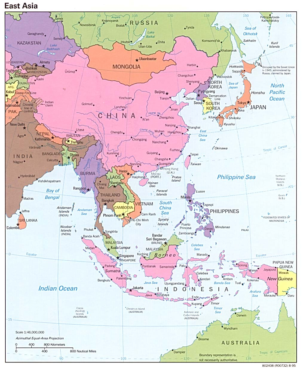 East asia political map 1995