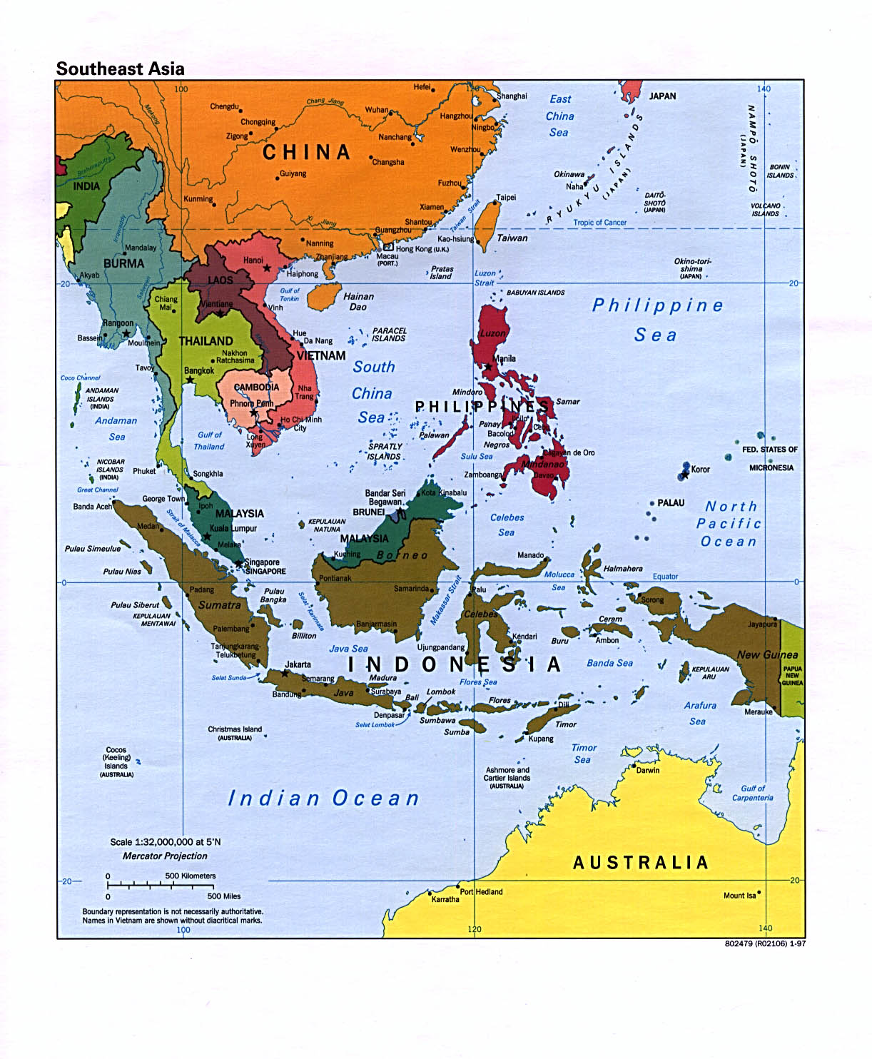 Southeast Asia Political Map 1997 Full size