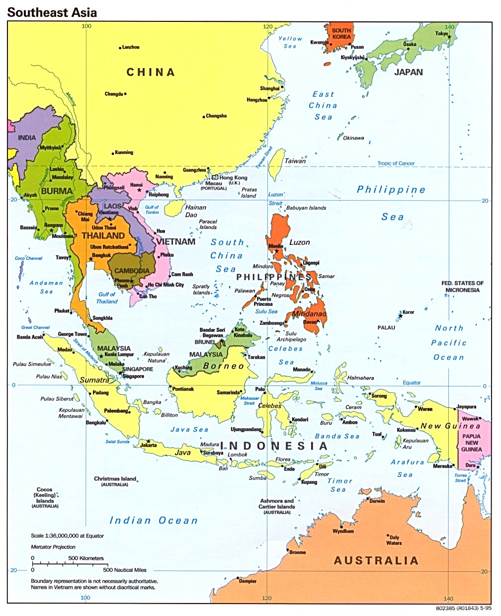 Southeast Asia Political Map 1995 Full size