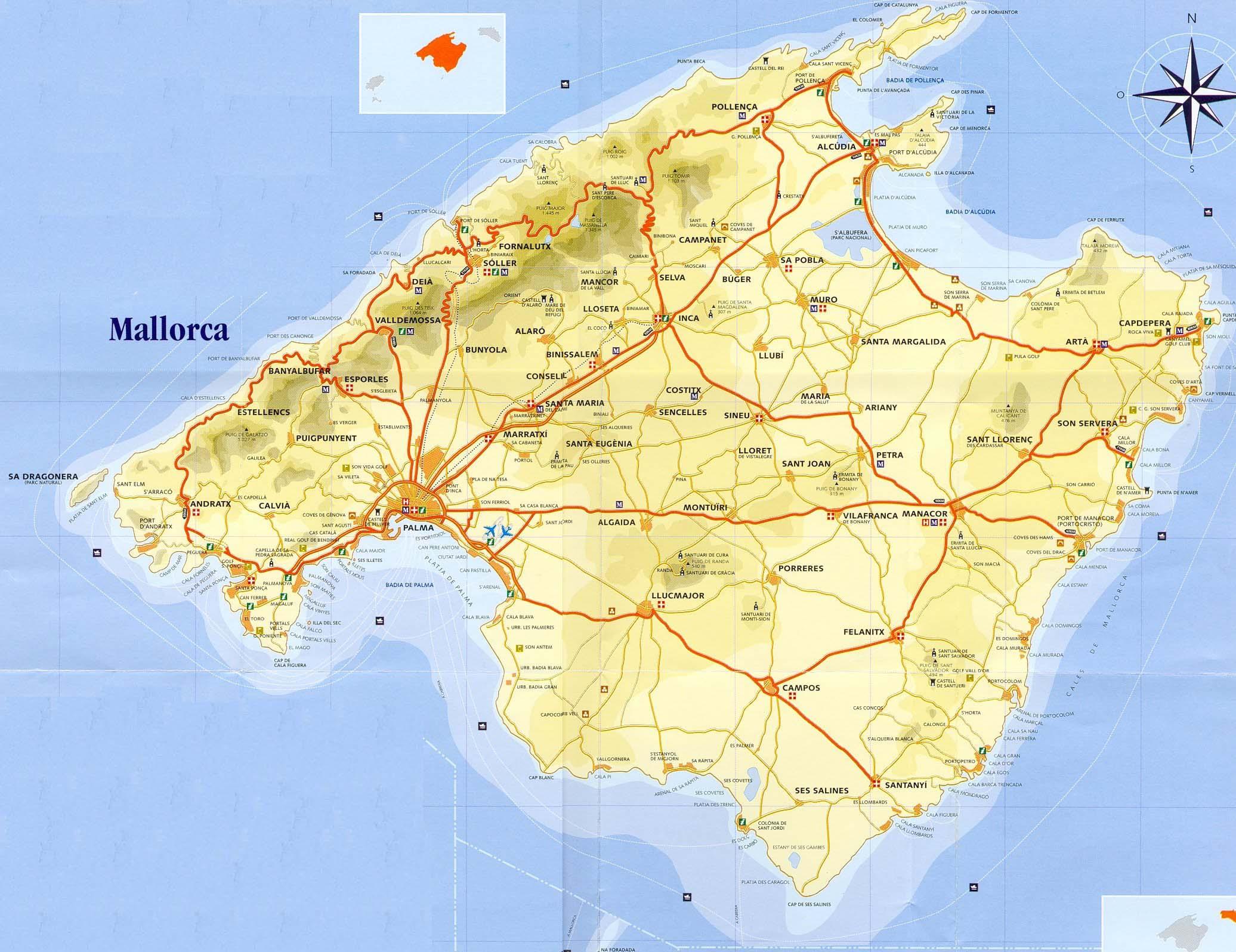 kort kort over mallorca