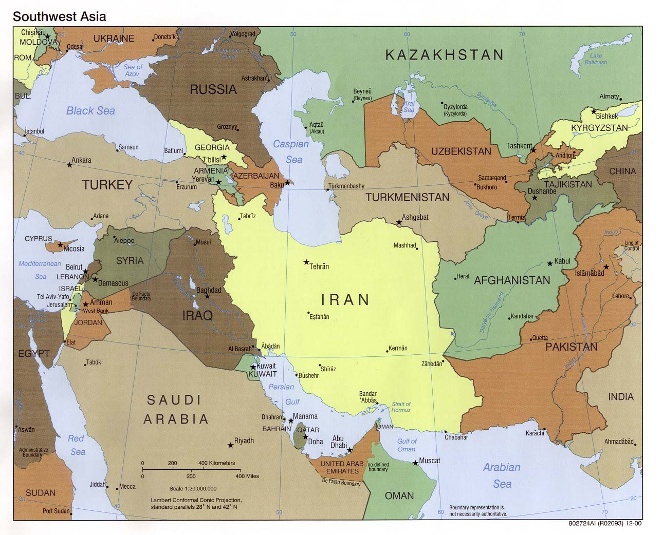 Western asia political map 2000