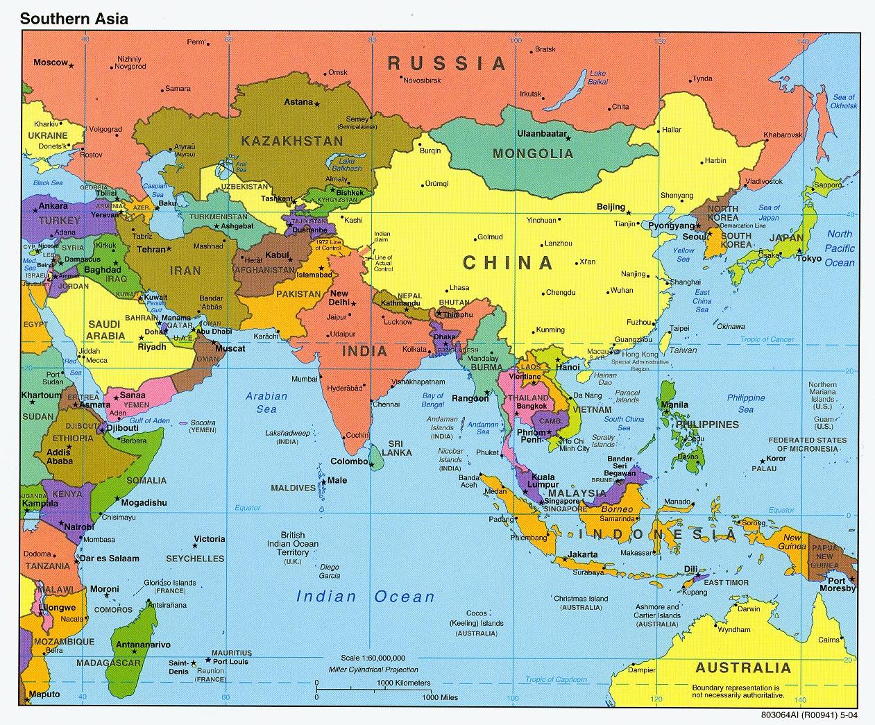 Mapa politico de asia del sur 2004
