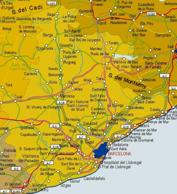 Provincias Barcelona Mapa Mapa de la Provincia de