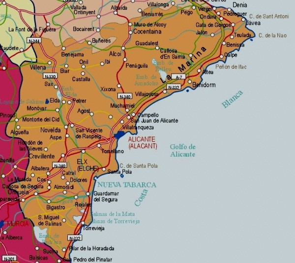 Alicante - Costa Blanca Spain  city pictures gallery : Mapa de de la Provincia de Alicante Tamaño completo