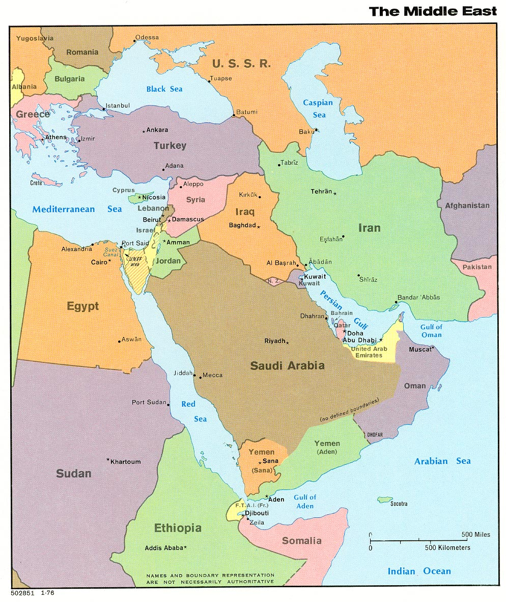 Middle East Political Map 1976 Full size
