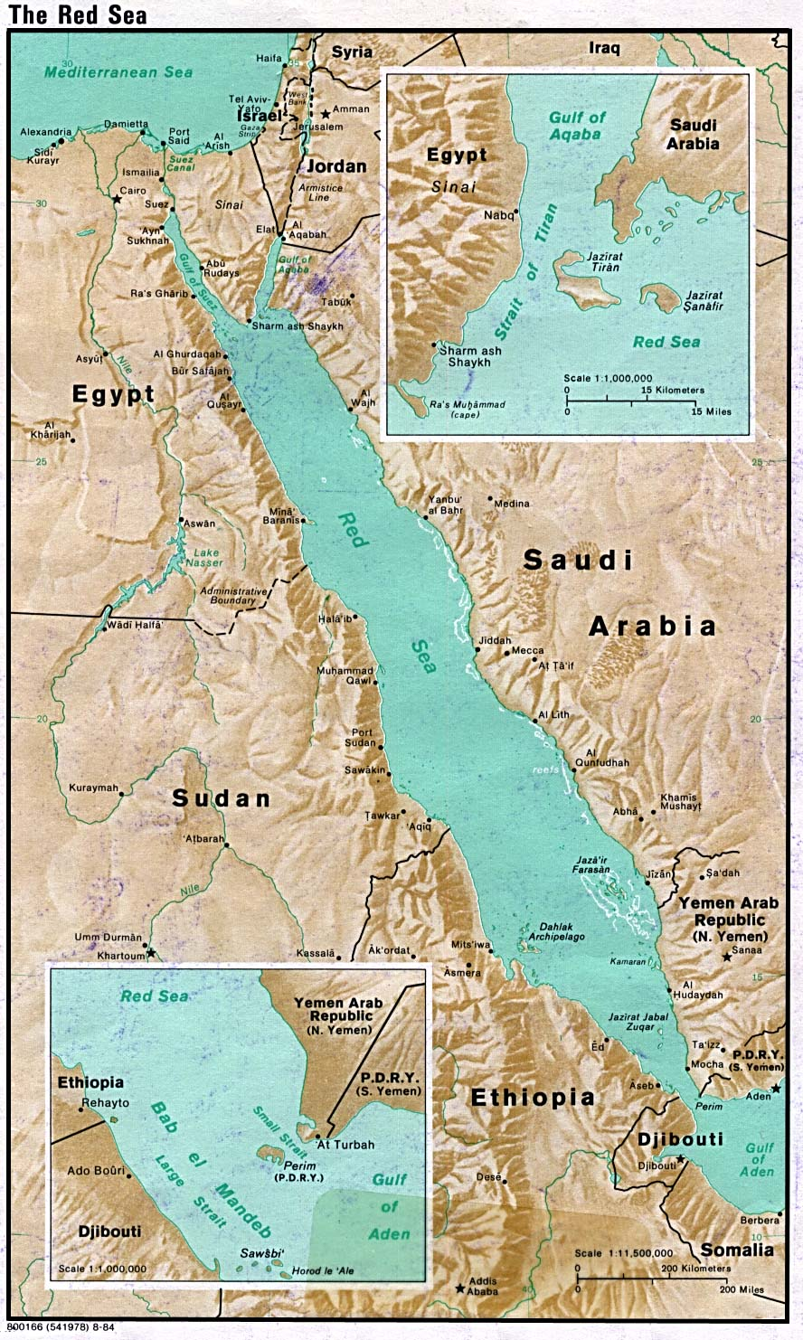 Red sea physical map 1984