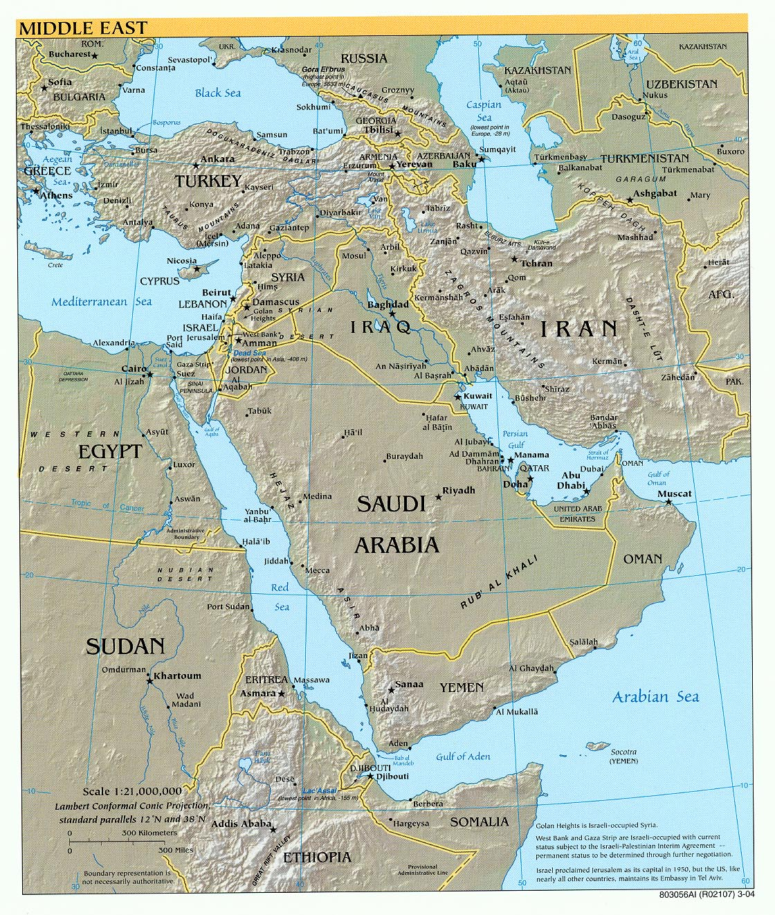 Middle East physical map 2004 Full size
