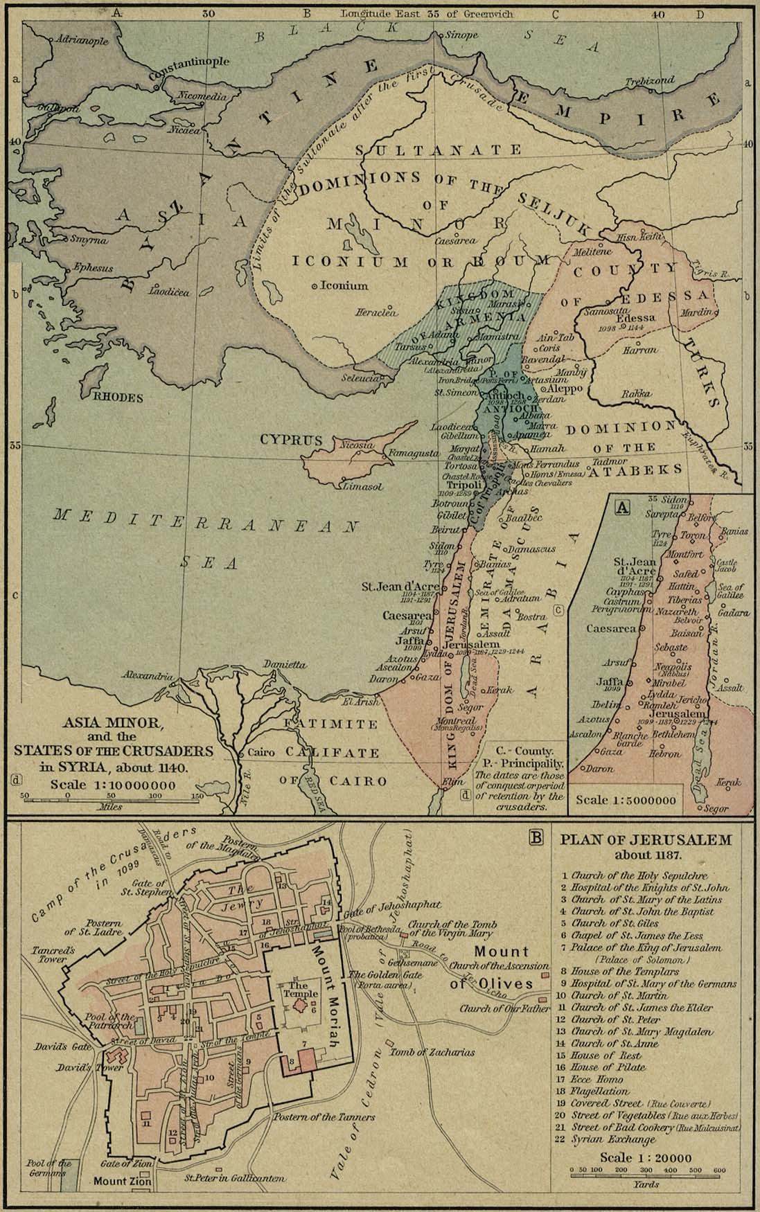 Asia Minor and the states of the Crusaders in Syria, about 1140