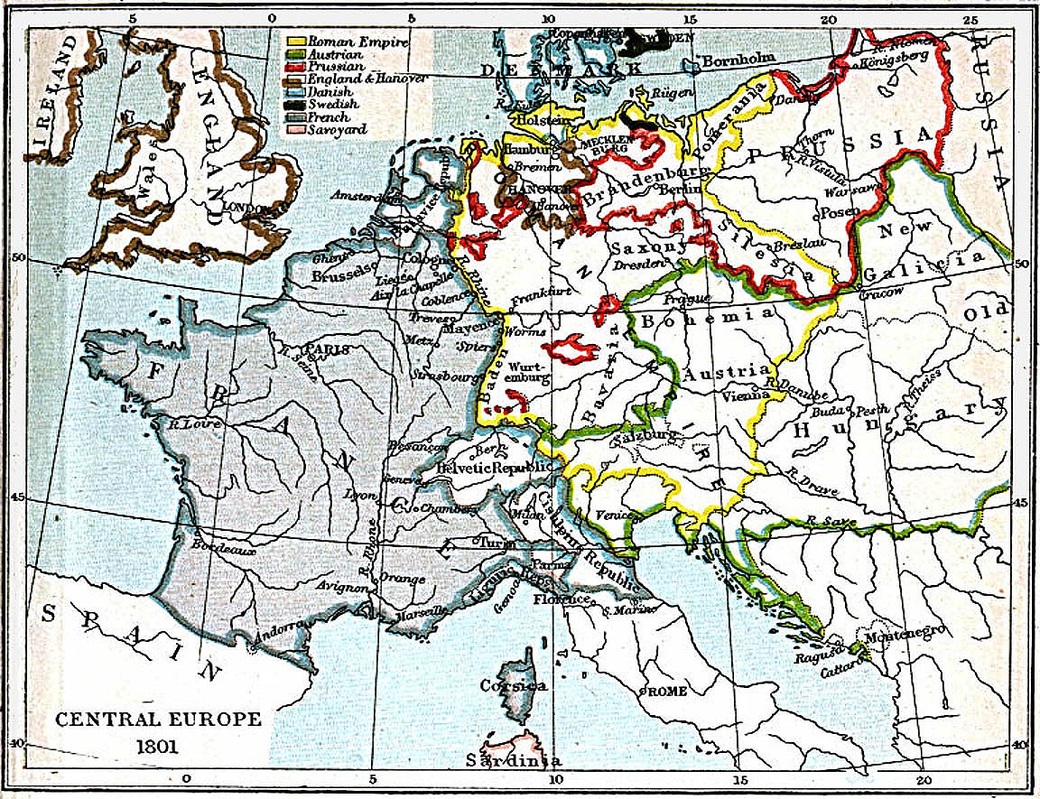 Central Europe Map 1801 A D Full size
