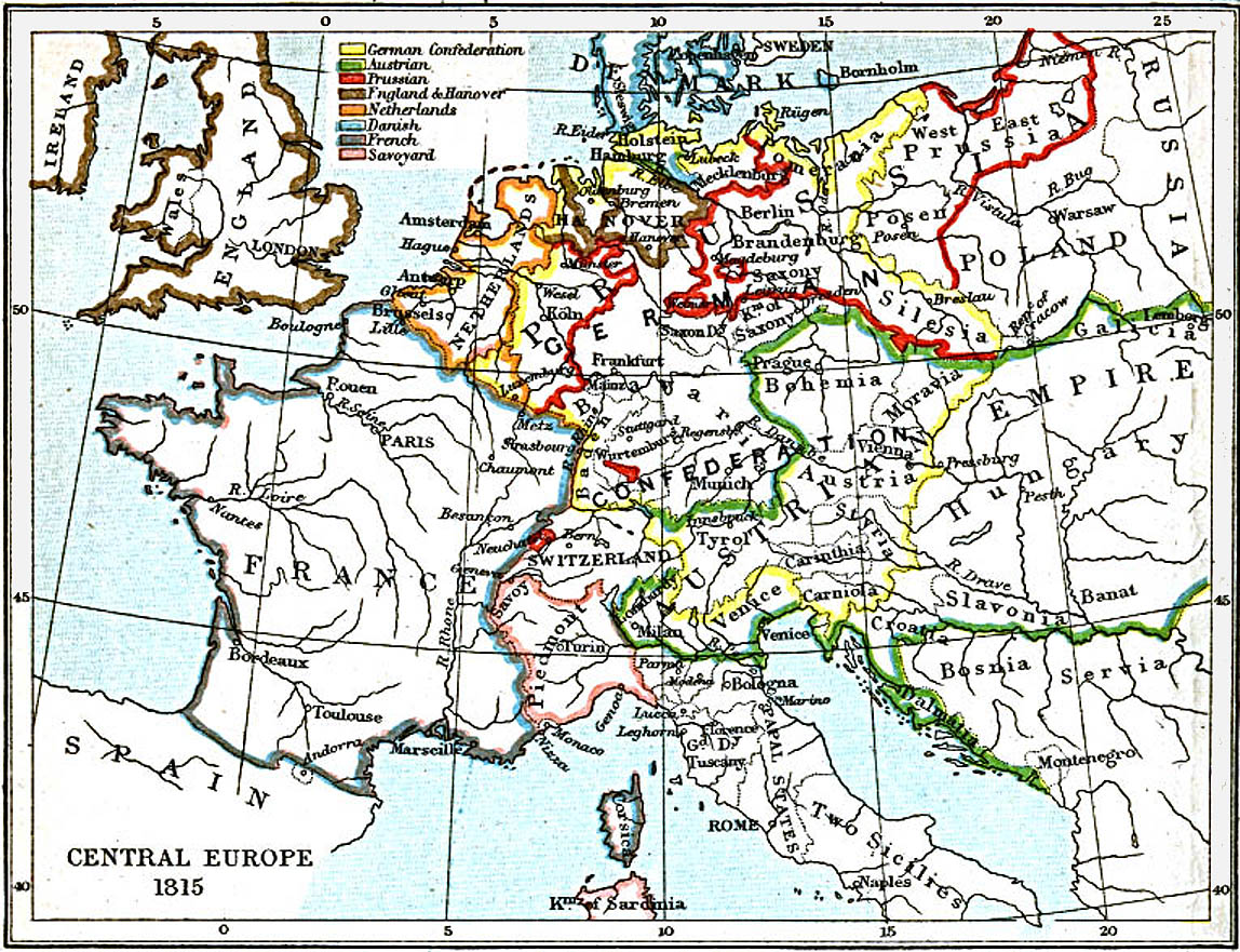 Central Europe Map 1815 A D Full size
