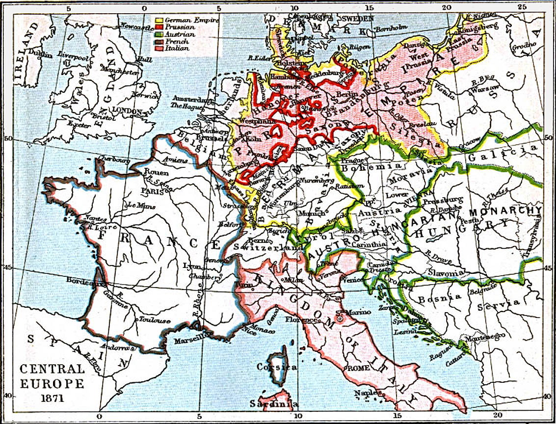Central Europe Map 1871 A D Full size