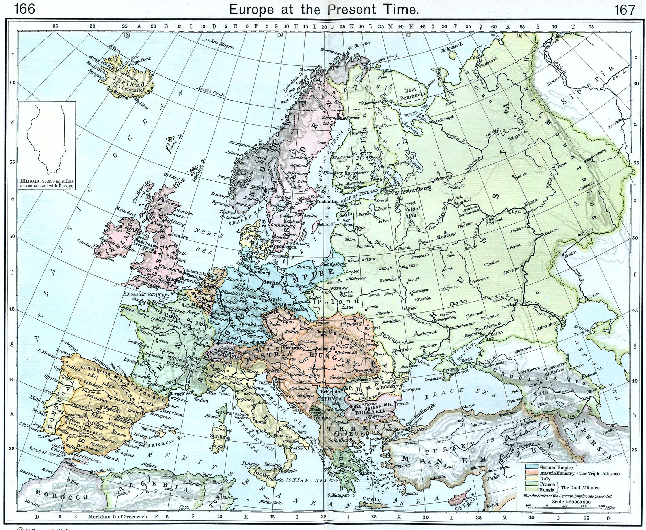Europe map 1911 Full size