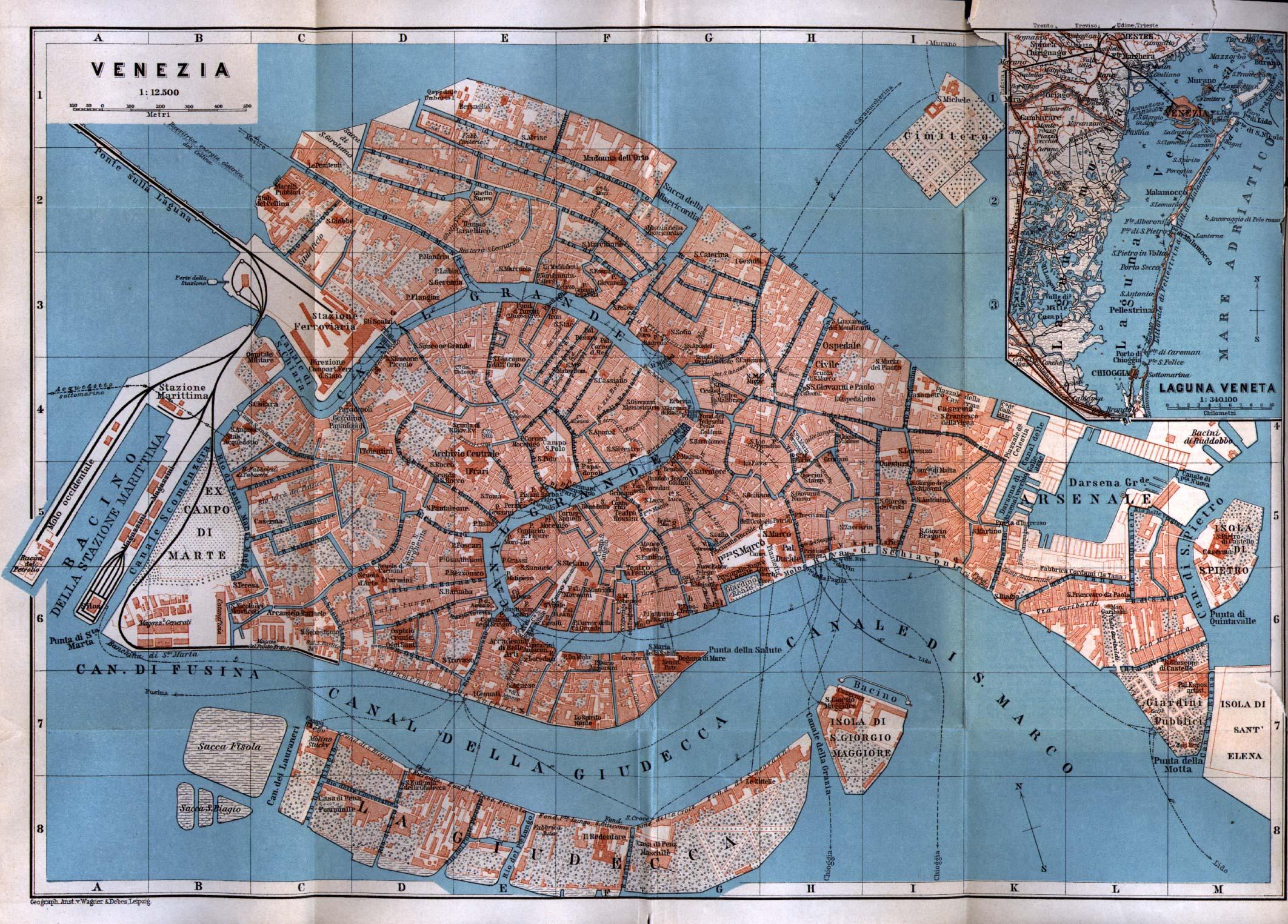 Mapa de Venecia, Italia 1913