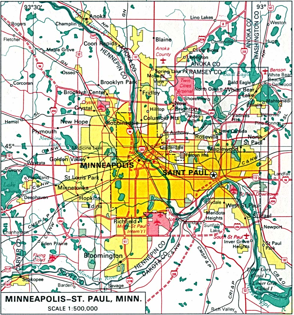 MinneapolisSaint Paul City Map Minnesota United States
