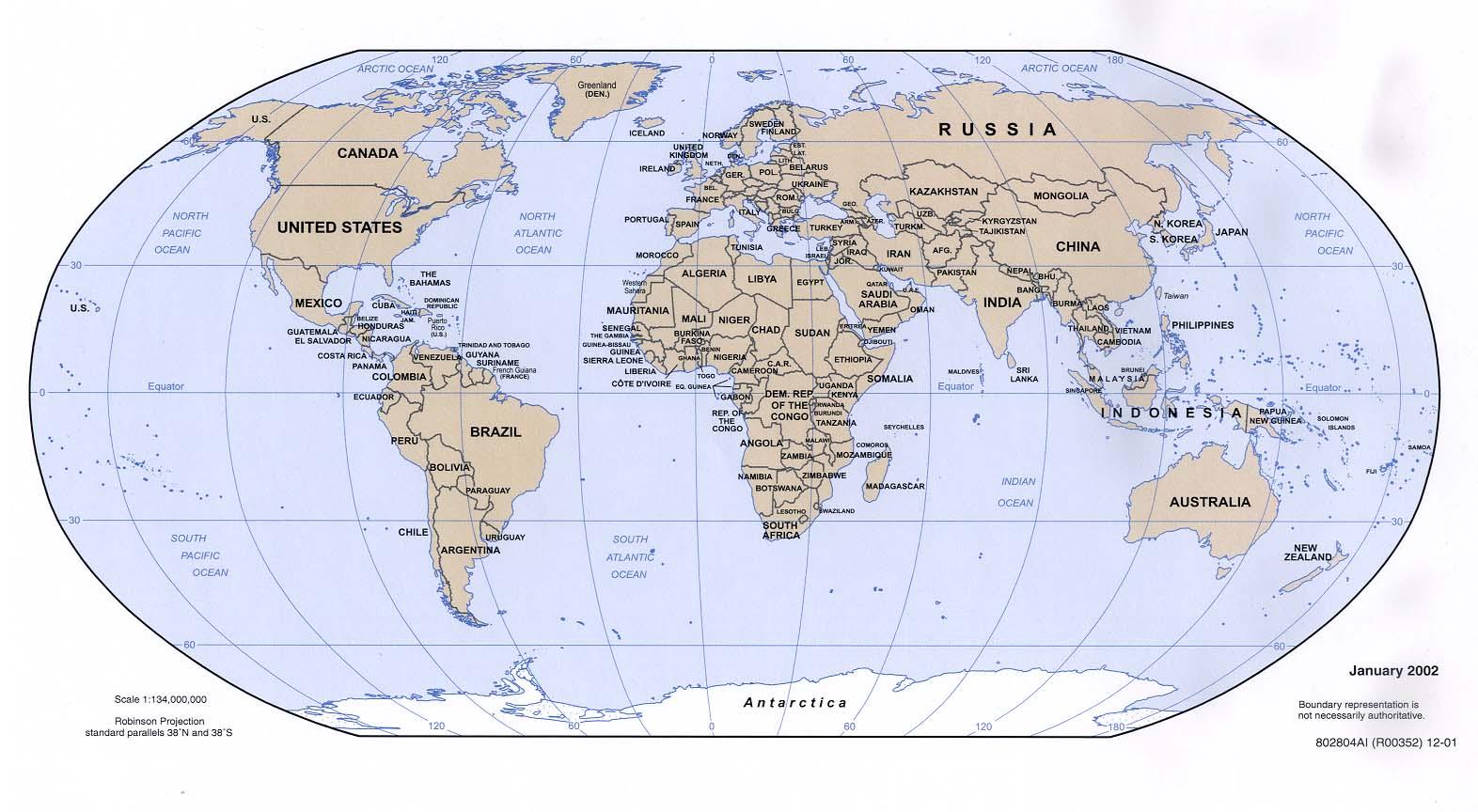 World political map 2002 Full size