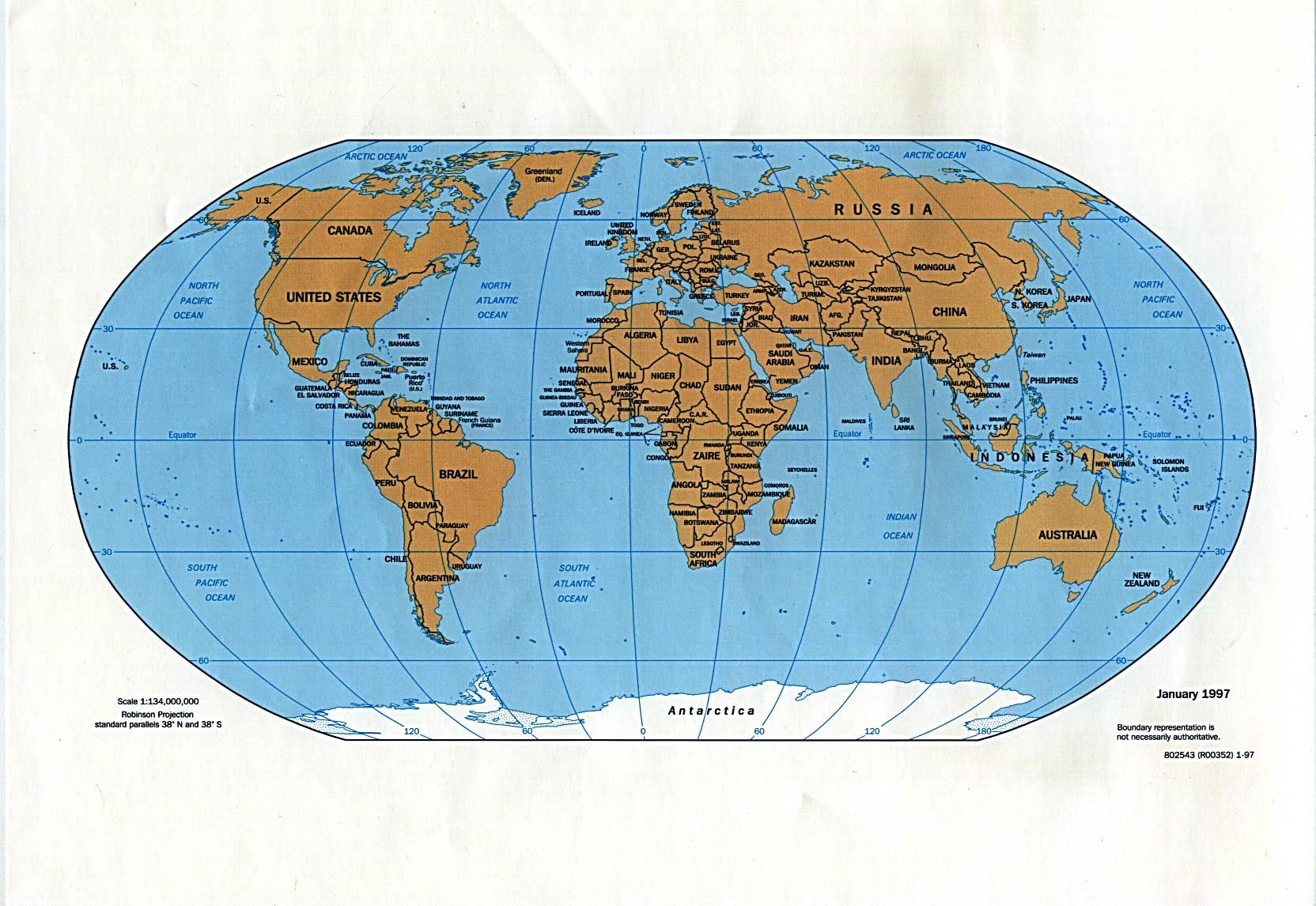 World political map 1997 Full size
