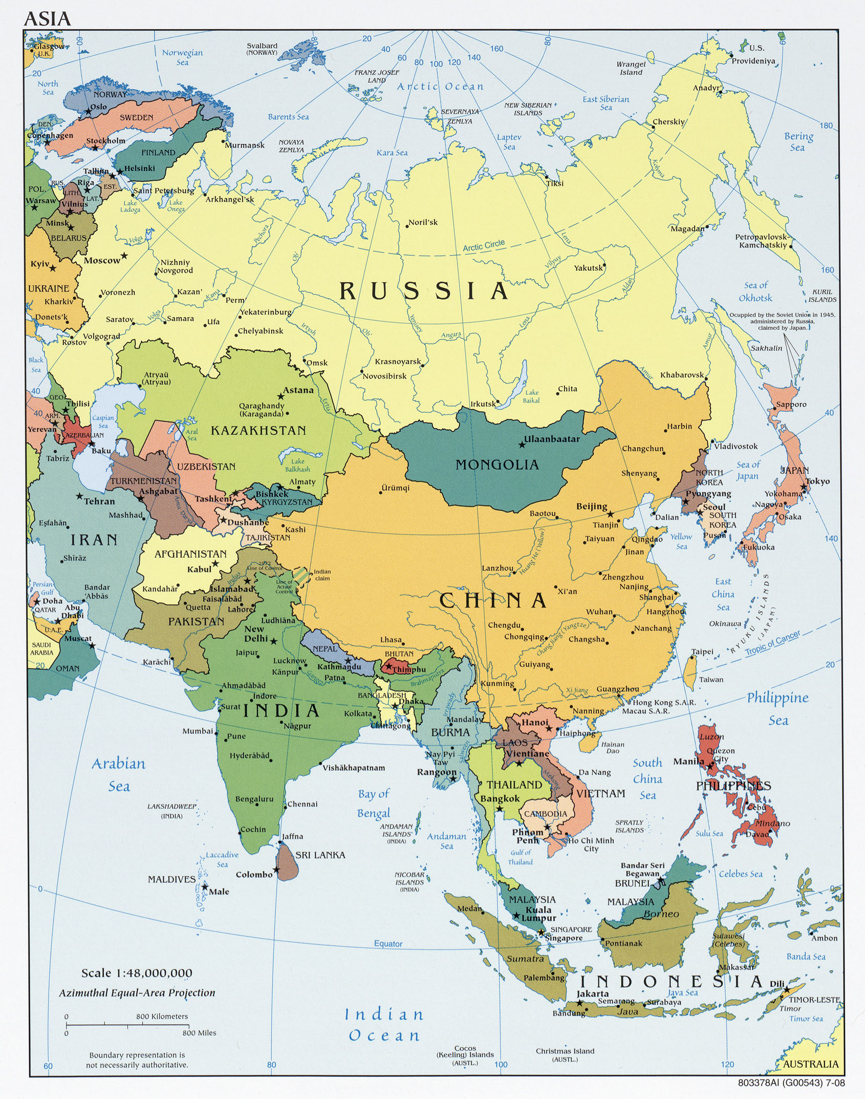 Asia Political Map 2008 Full size