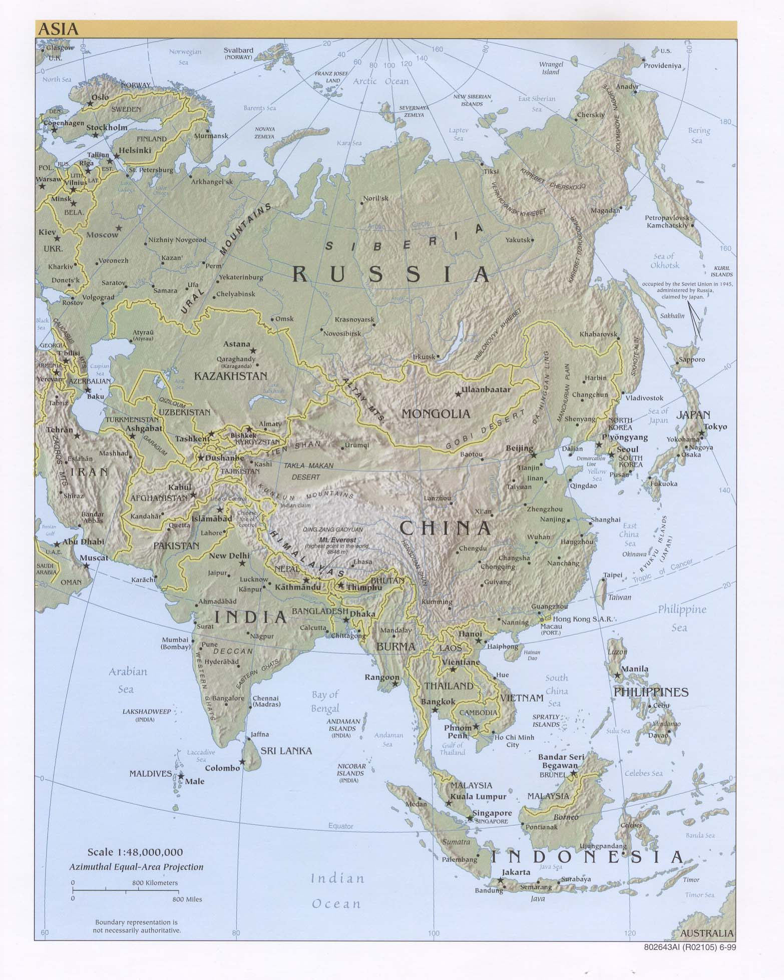 Asia physical map 1999 Full size