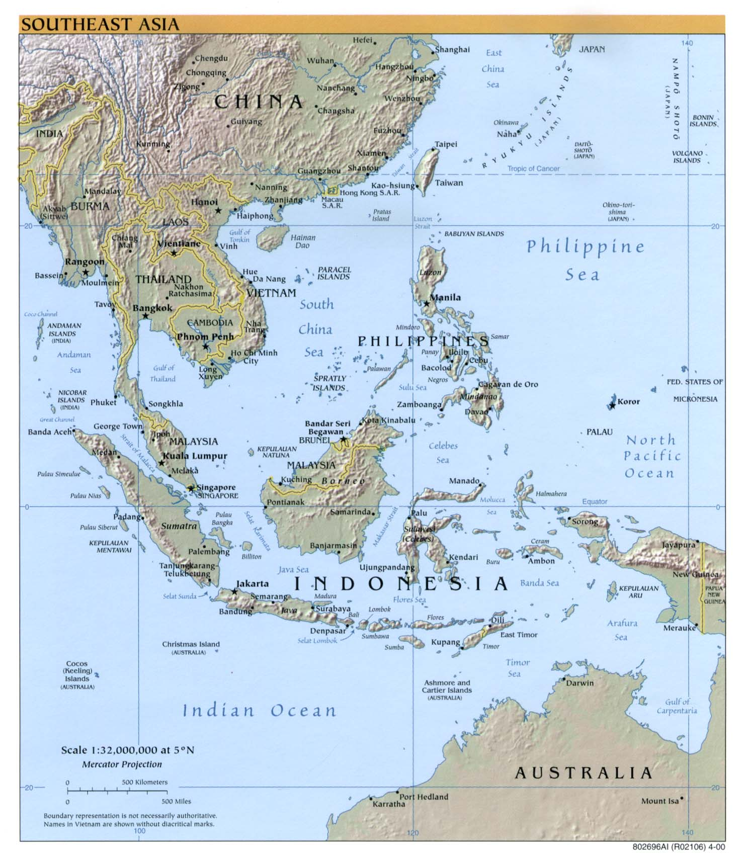 Southeast Asia Map Physical 55