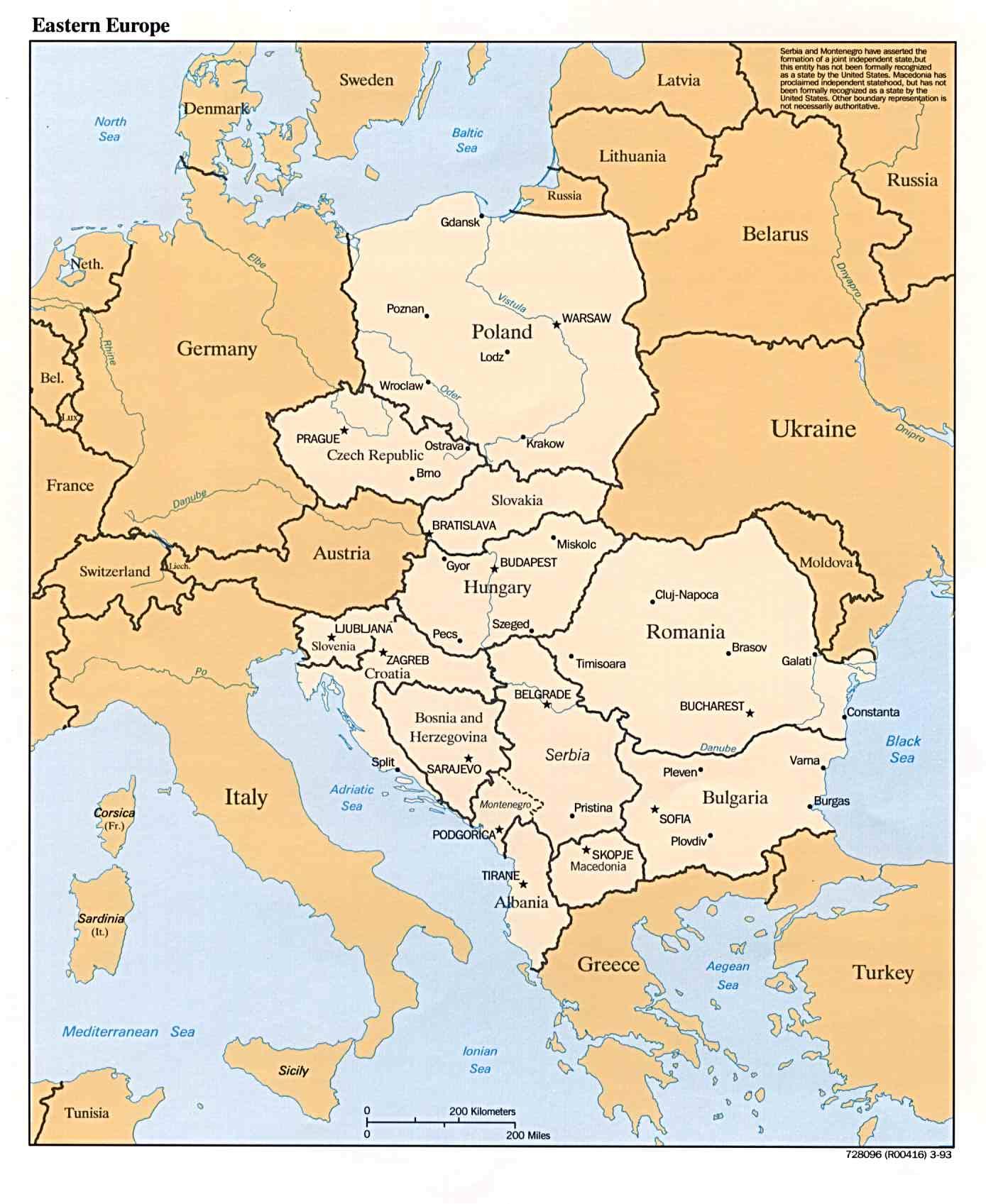Mapa Politico de Europa Oriental 1993 - 2015 Maps & Atlas