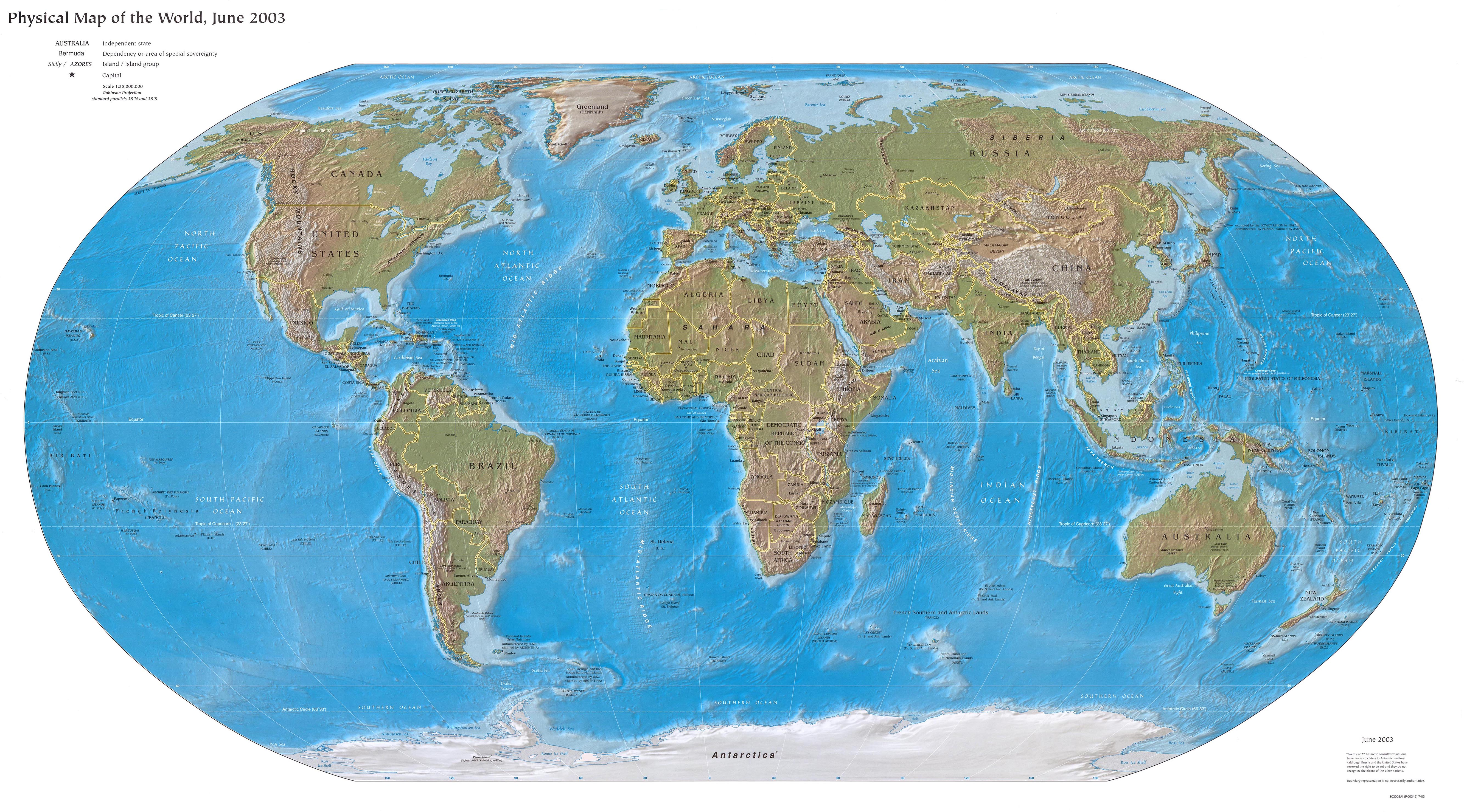 World physical map 2003 Full size