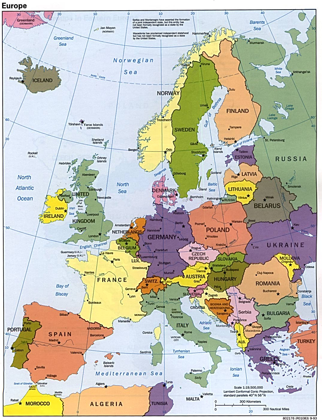 Europe political map 1993