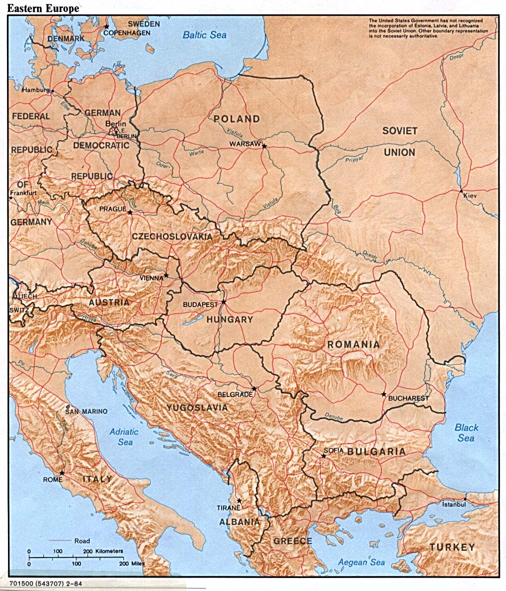Eastern Europe physical map 1984 Full size