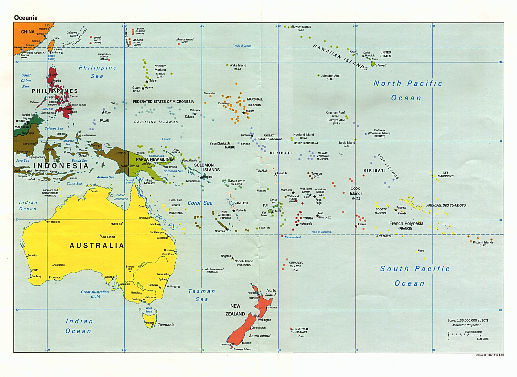 Oceania - categories of maps