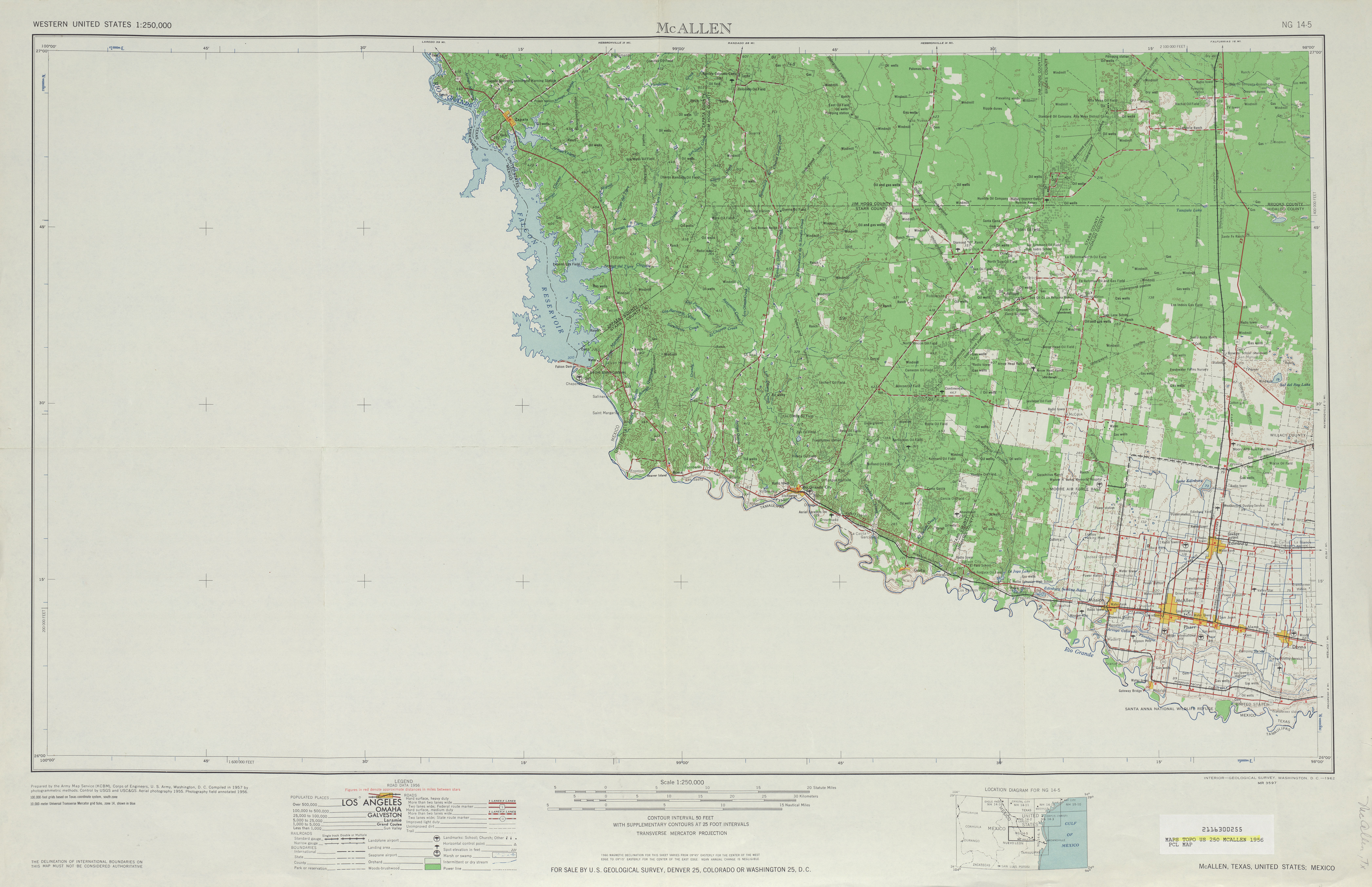 Mcallen (TX) United States  City pictures : ... United States :: Mcallen Topographic Map Sheet, United States 1956