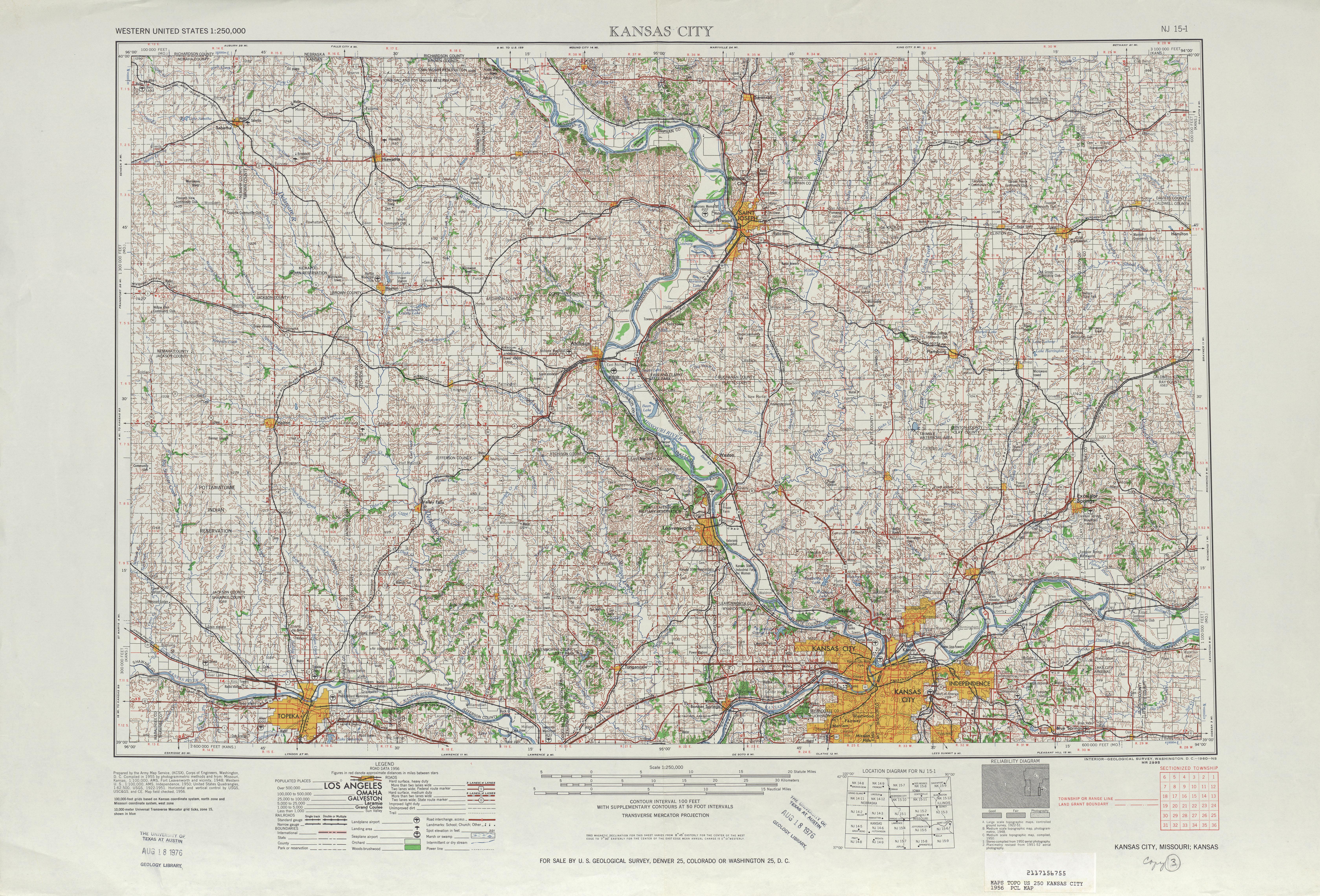 Kansas City Topographic Map Sheet United States 1956