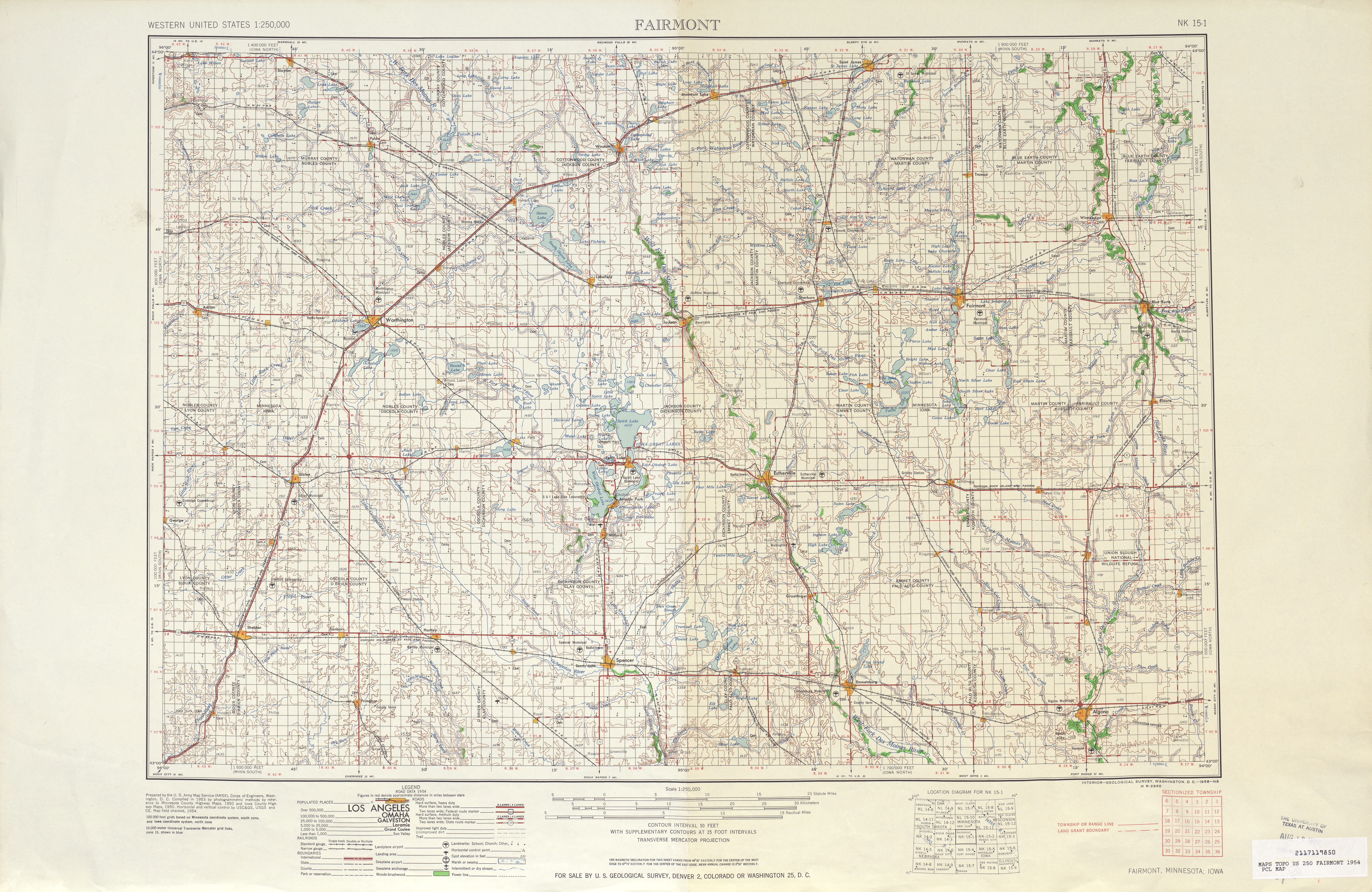 Fairmont (MN) United States  city pictures gallery : ... United States :: Fairmont Topographic Map Sheet, United States 1954