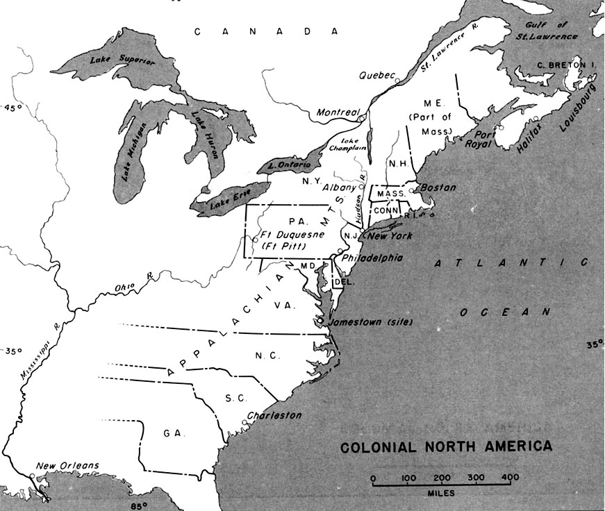 Map Of America. Colonial North America Map