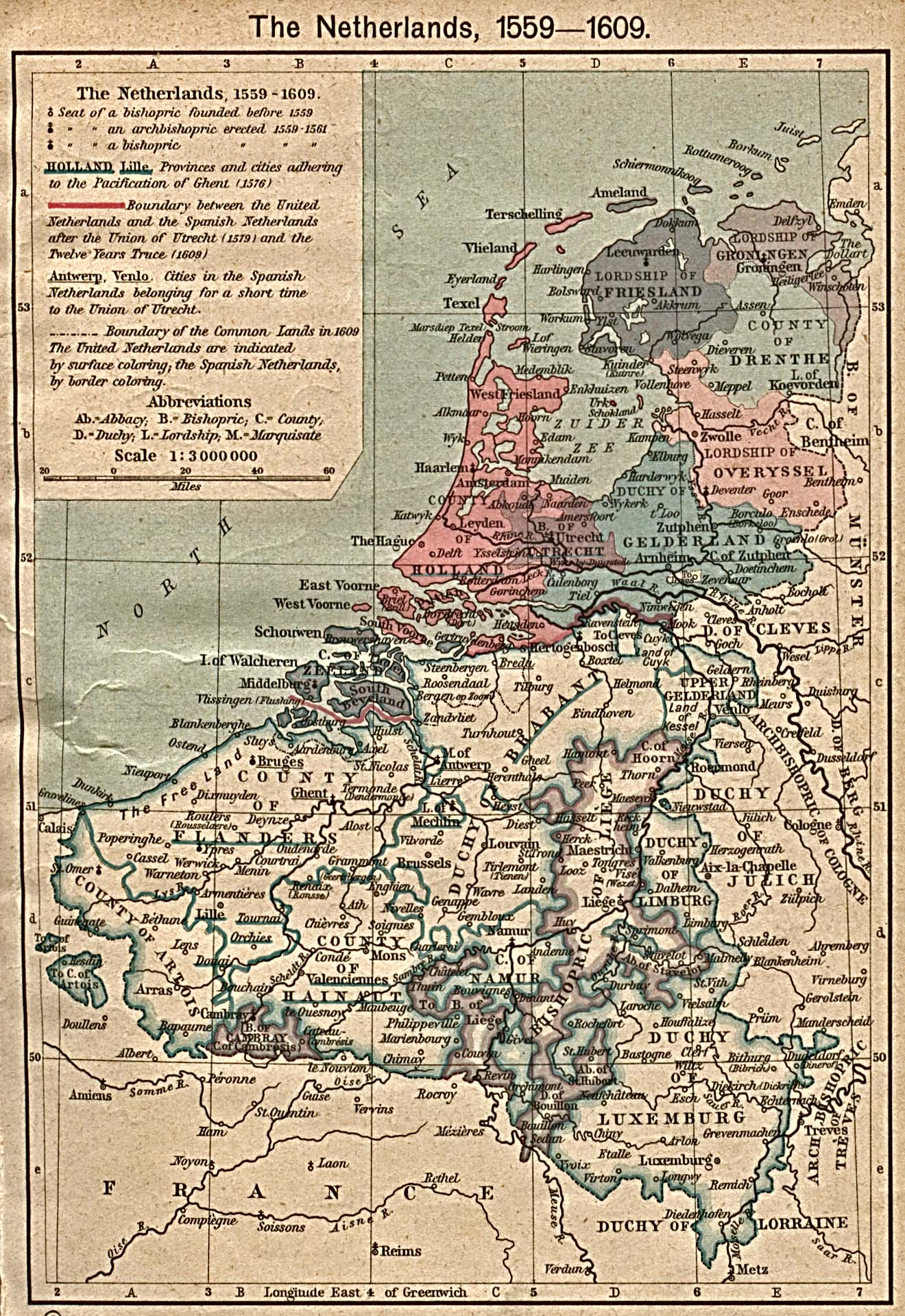 The Netherlands Map 1559 1609 Full Size