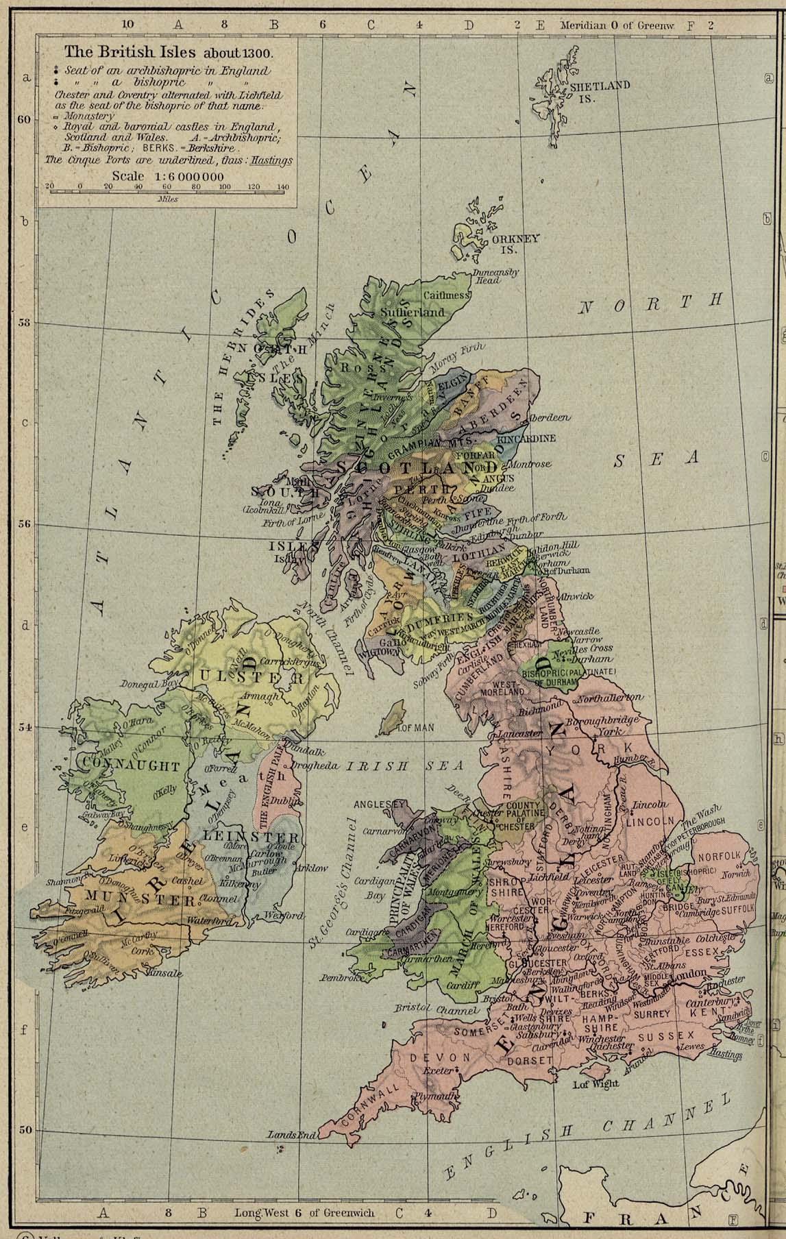 British Isles Map 1300 Full size