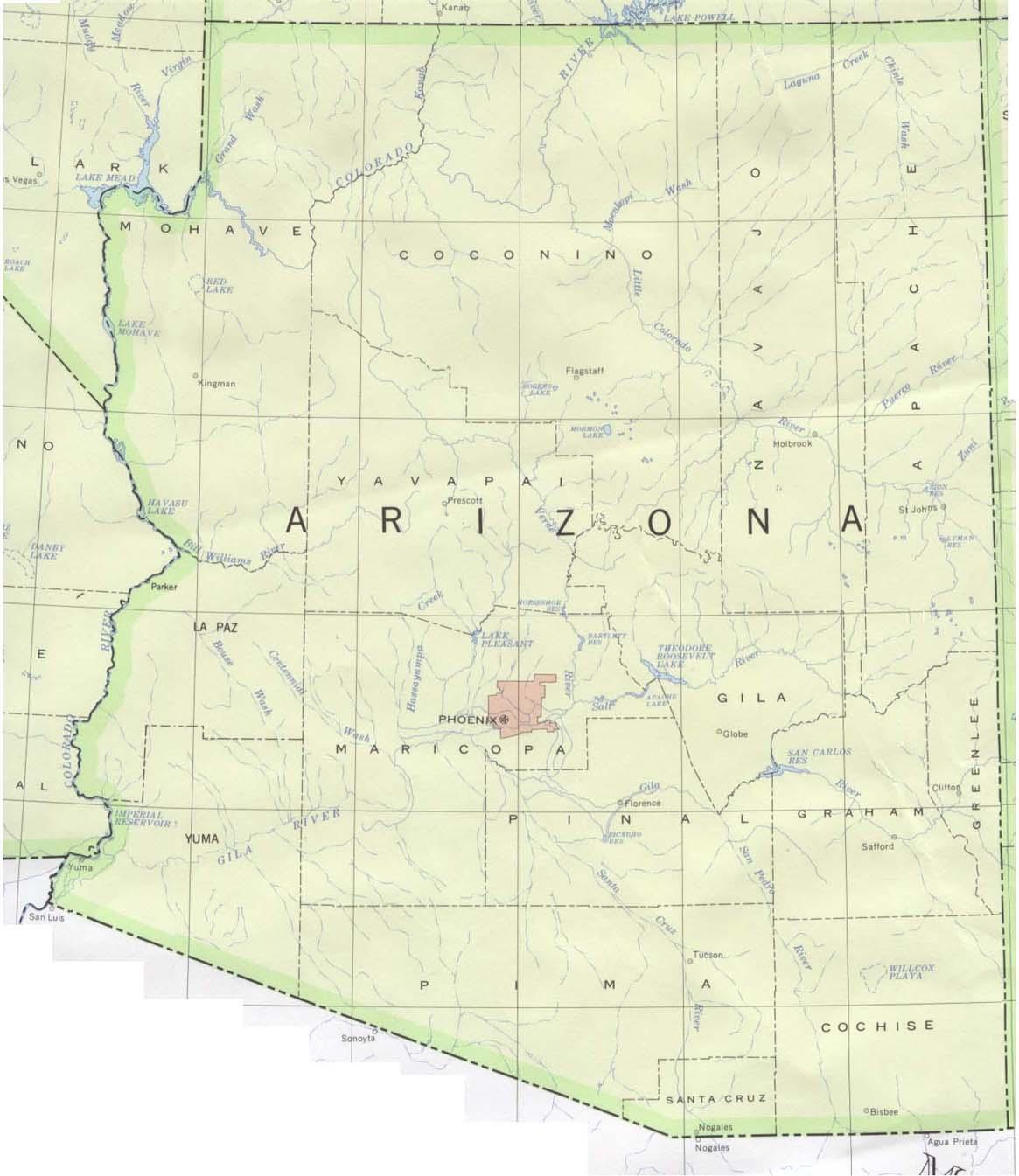 Map Of Arizona And Surrounding States Swimnovacom - Us map arizona
