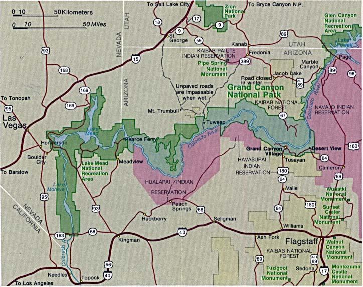 Grand Canyon National Park Area Map Arizona United States - Full Size