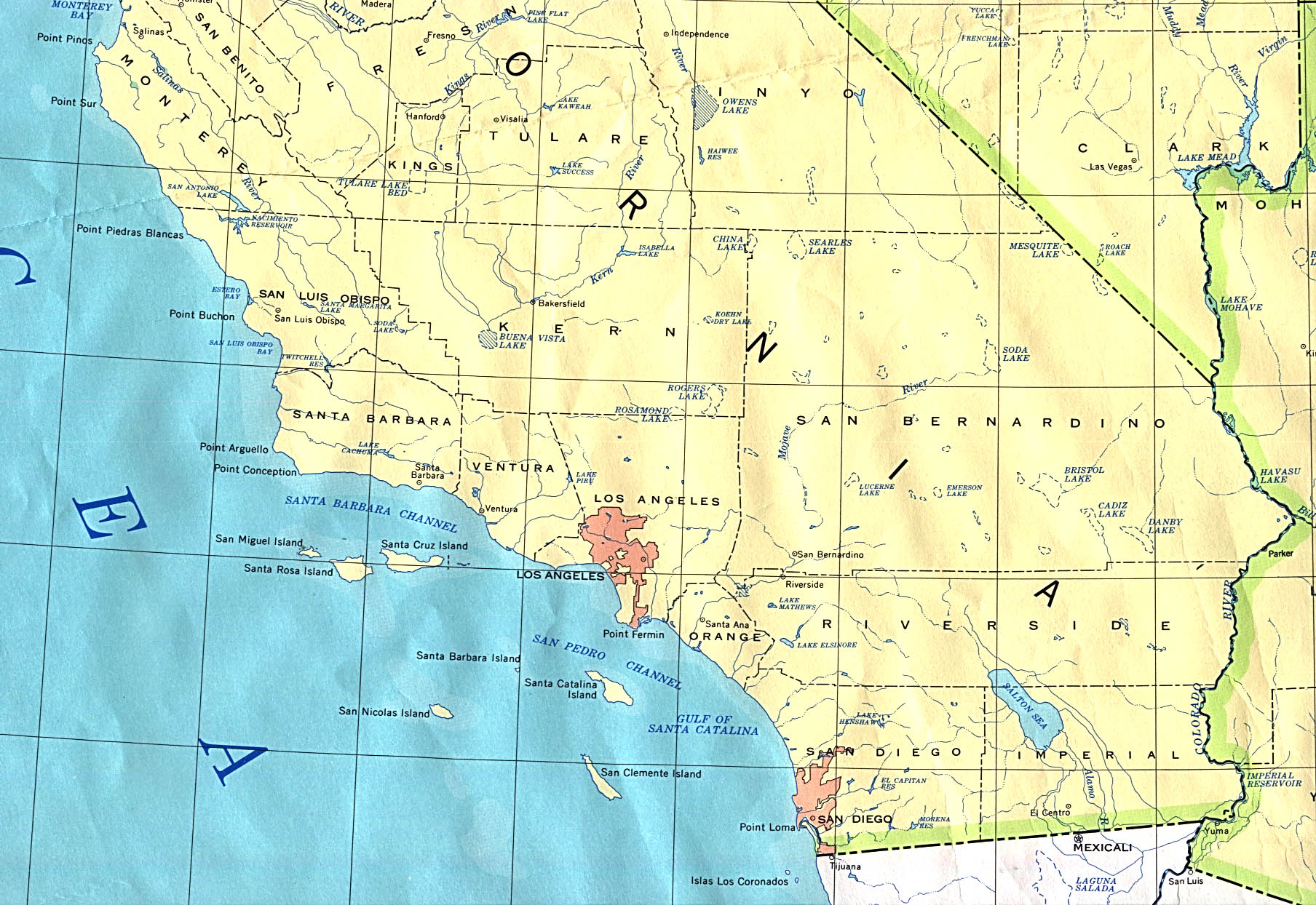 Southern California State Map United States Full Size